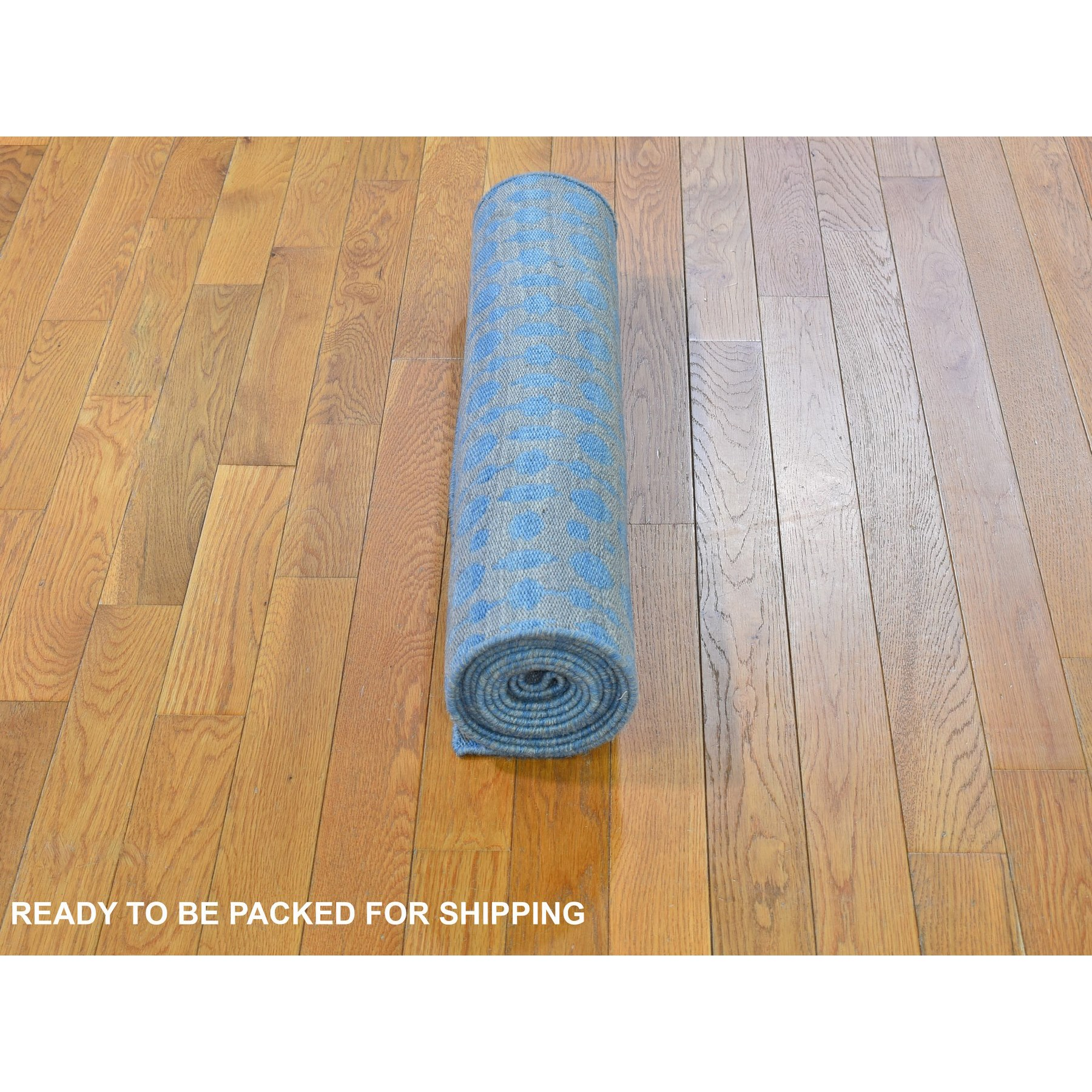 "2'8""x12' Light Blue Hand Woven Flat Weave Dot Design Pure Wool Reversible Kilim Runner Oriental Rug"