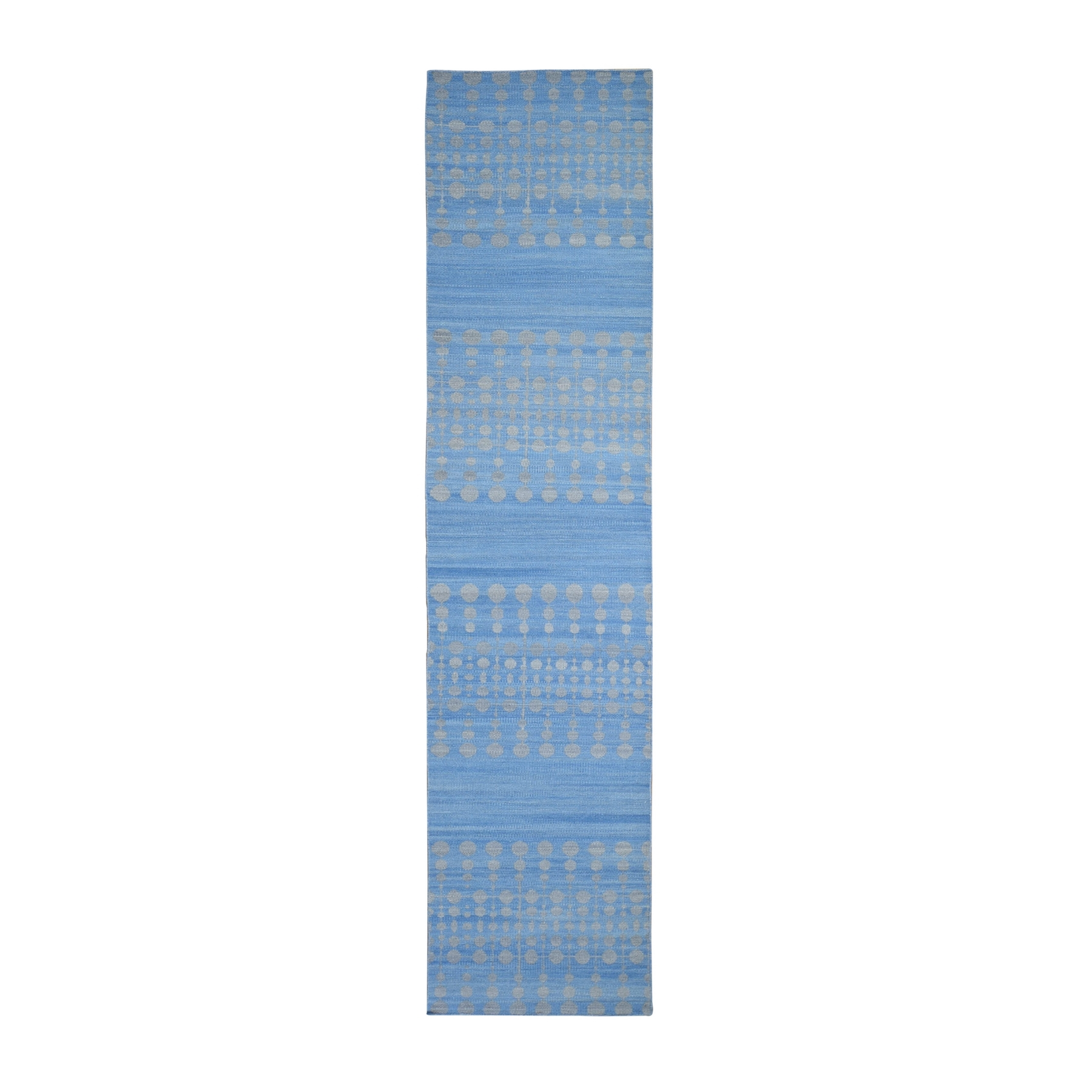 "2'8""x12' Hand Woven Flat Weave Pure Wool Light Blue Reversible Kilim Dot Design Runner Oriental Rug"