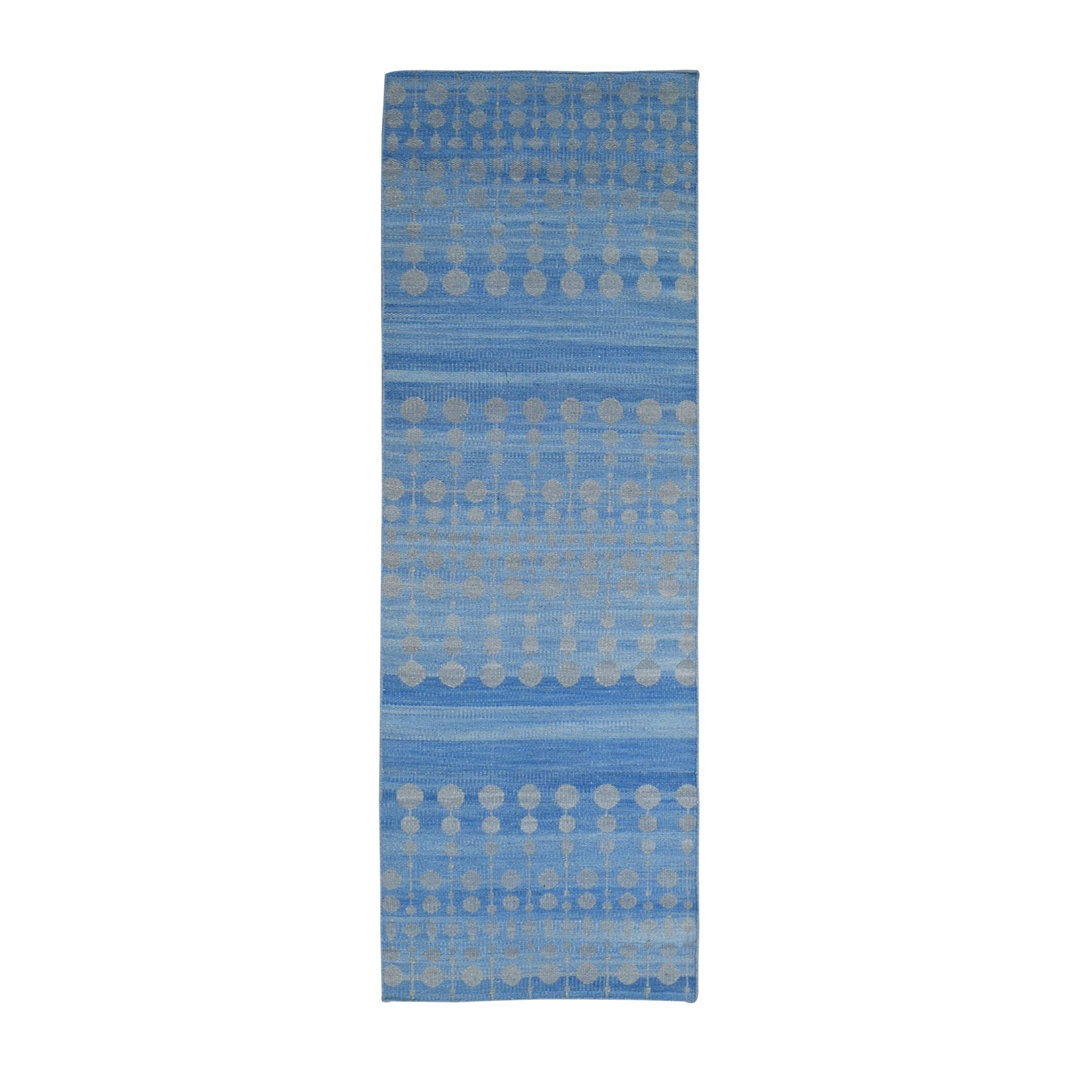 "2'7""x9'9"" Light Blue Hand Woven Dot Design Flat Weave Pure Wool Reversible Kilim Runner Oriental Rug"