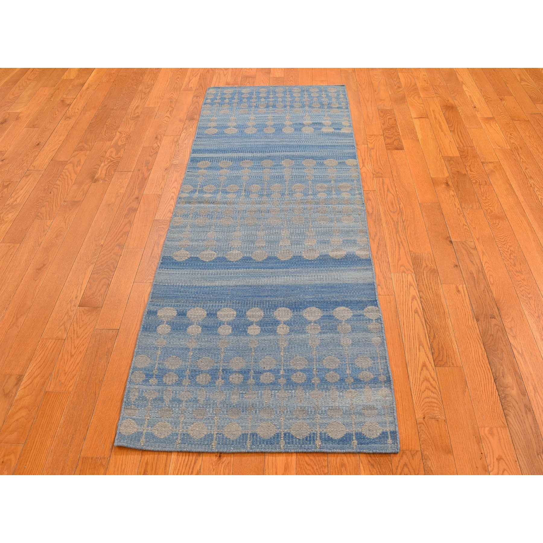 "2'7""x9'9"" Light Blue Hand Woven Dot Design Flat Weave Pure Wool Reversible Kilim Runner Oriental Rug"