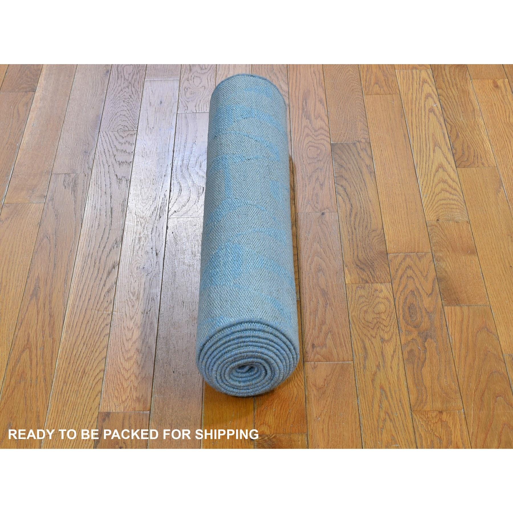 "2'7""x11'9"" Aquamarine Hand Woven Flat Weave Pure Wool Reversible Kilim Runner Oriental Rug"