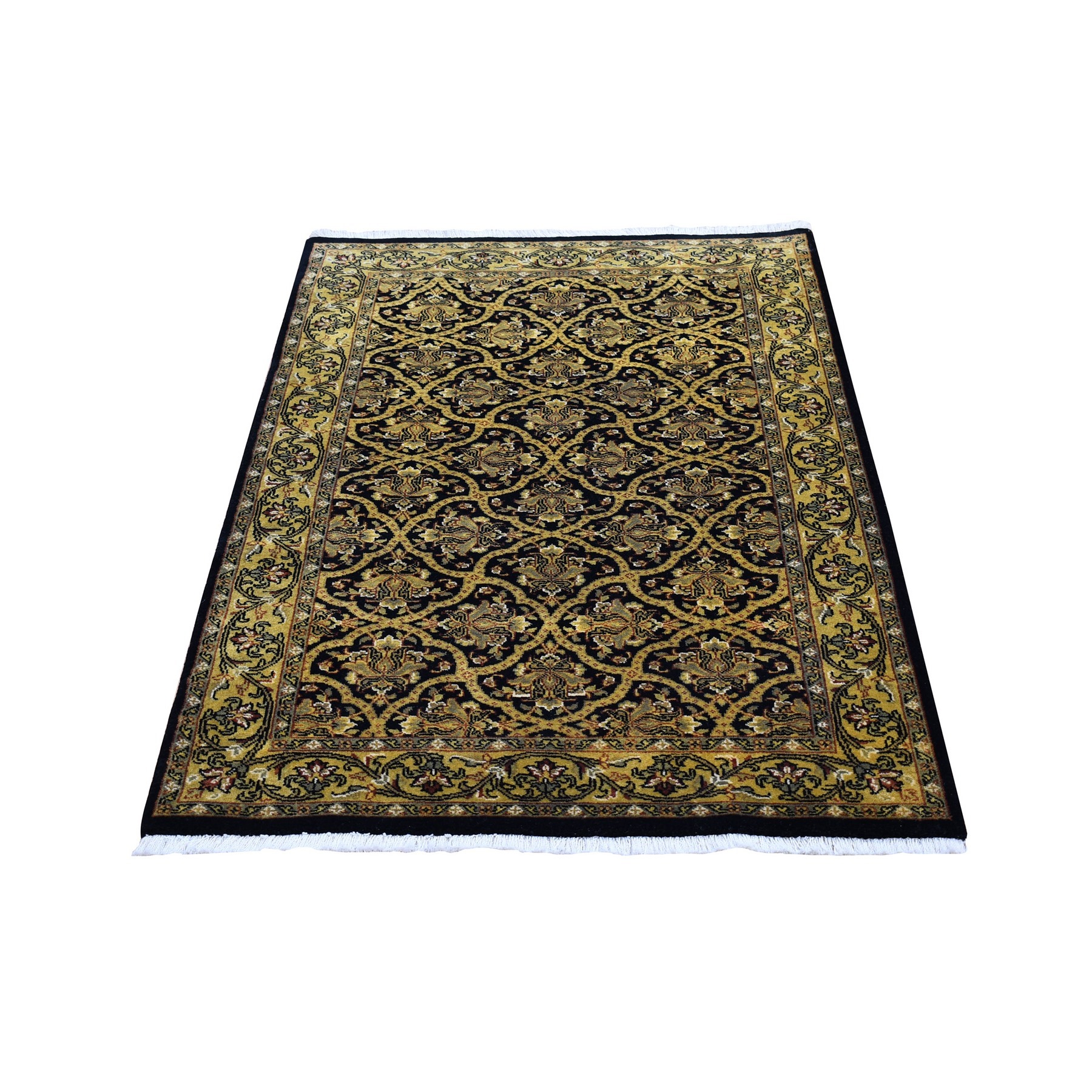 "3'x4'10"" Super Fine Persian All Over Design Black and Gold Pure Wool Hand Knotted Oriental Rug"