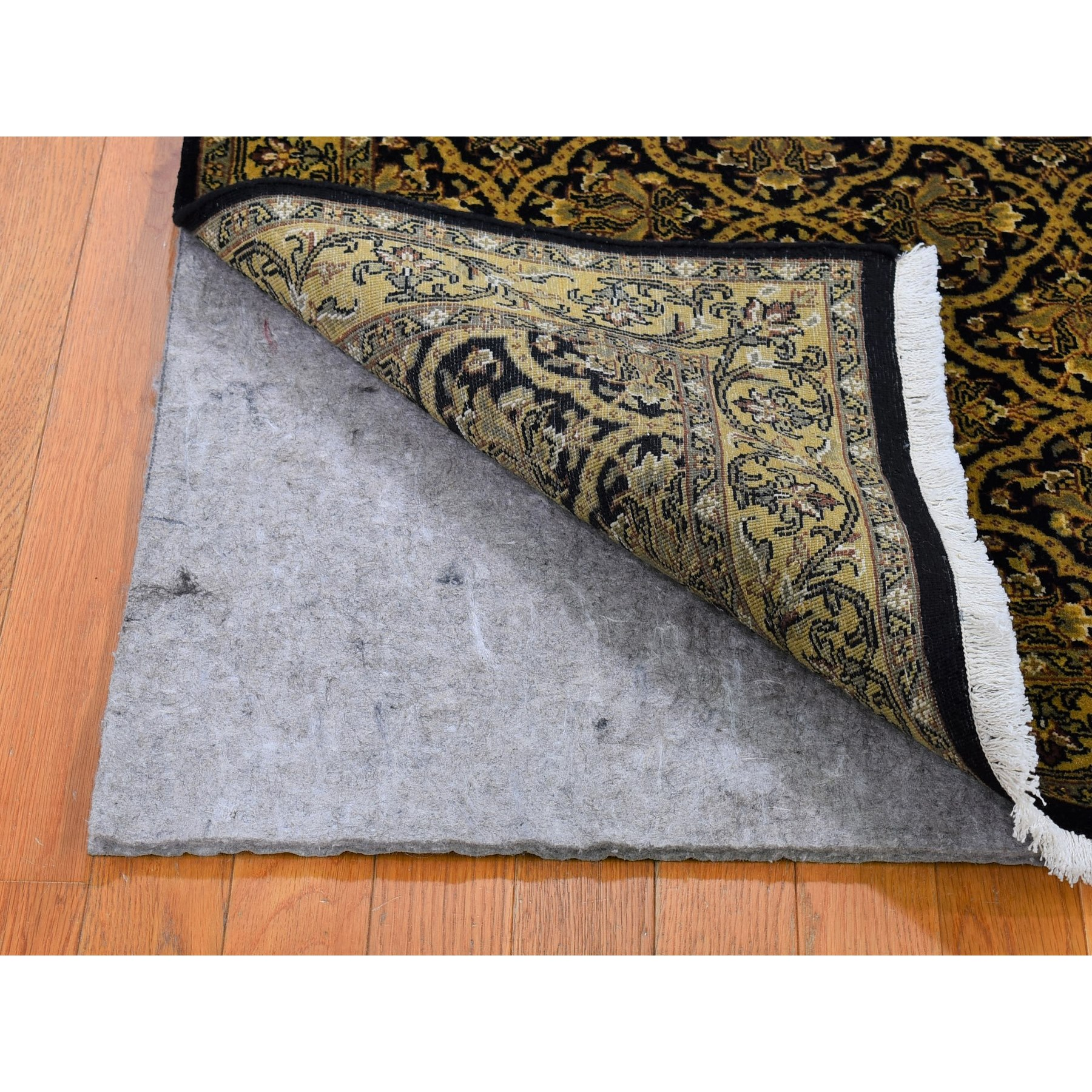 """3'x4'10"""" Super Fine Persian All Over Design Black and Gold Pure Wool Hand Knotted Oriental Rug"""
