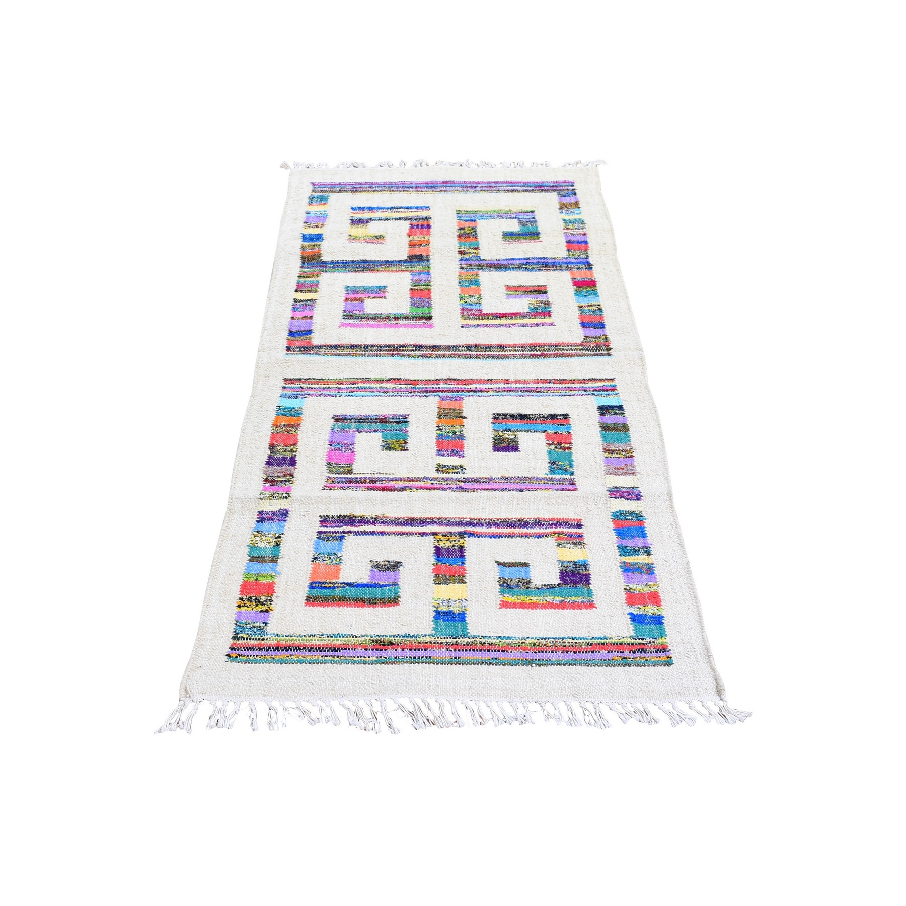 Fine Kilim Collection Hand Woven Ivory Rug No: 1132254