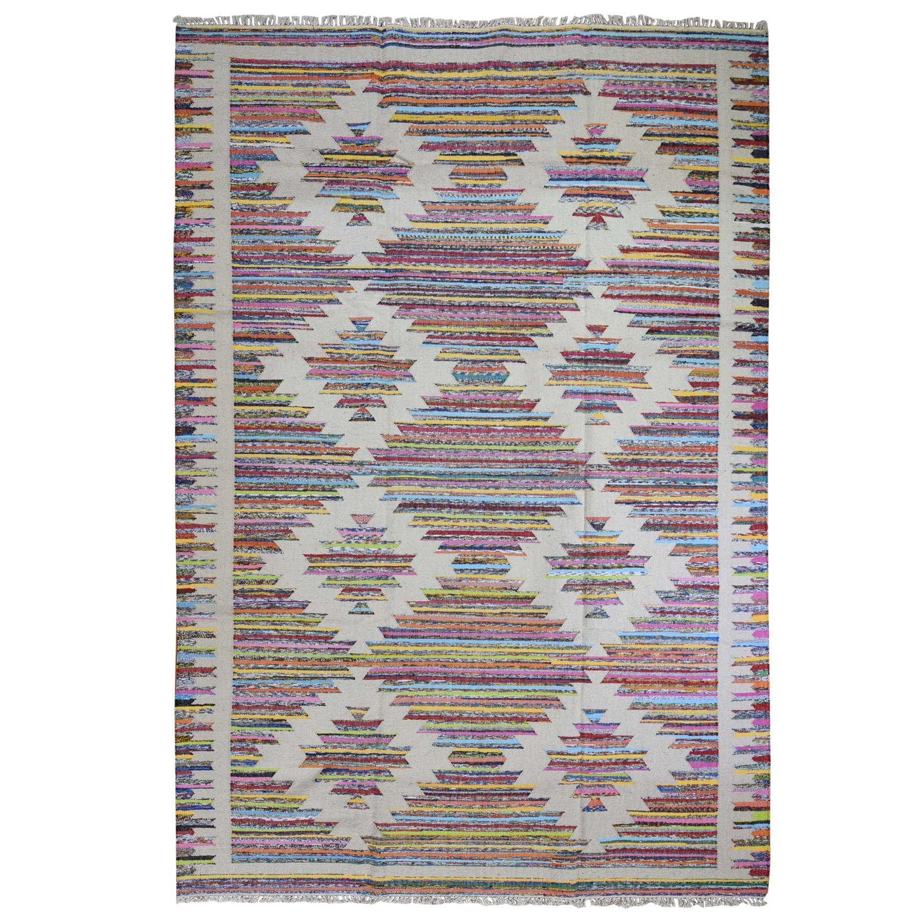 Fine Kilim Collection Hand Woven Ivory Rug No: 1132260