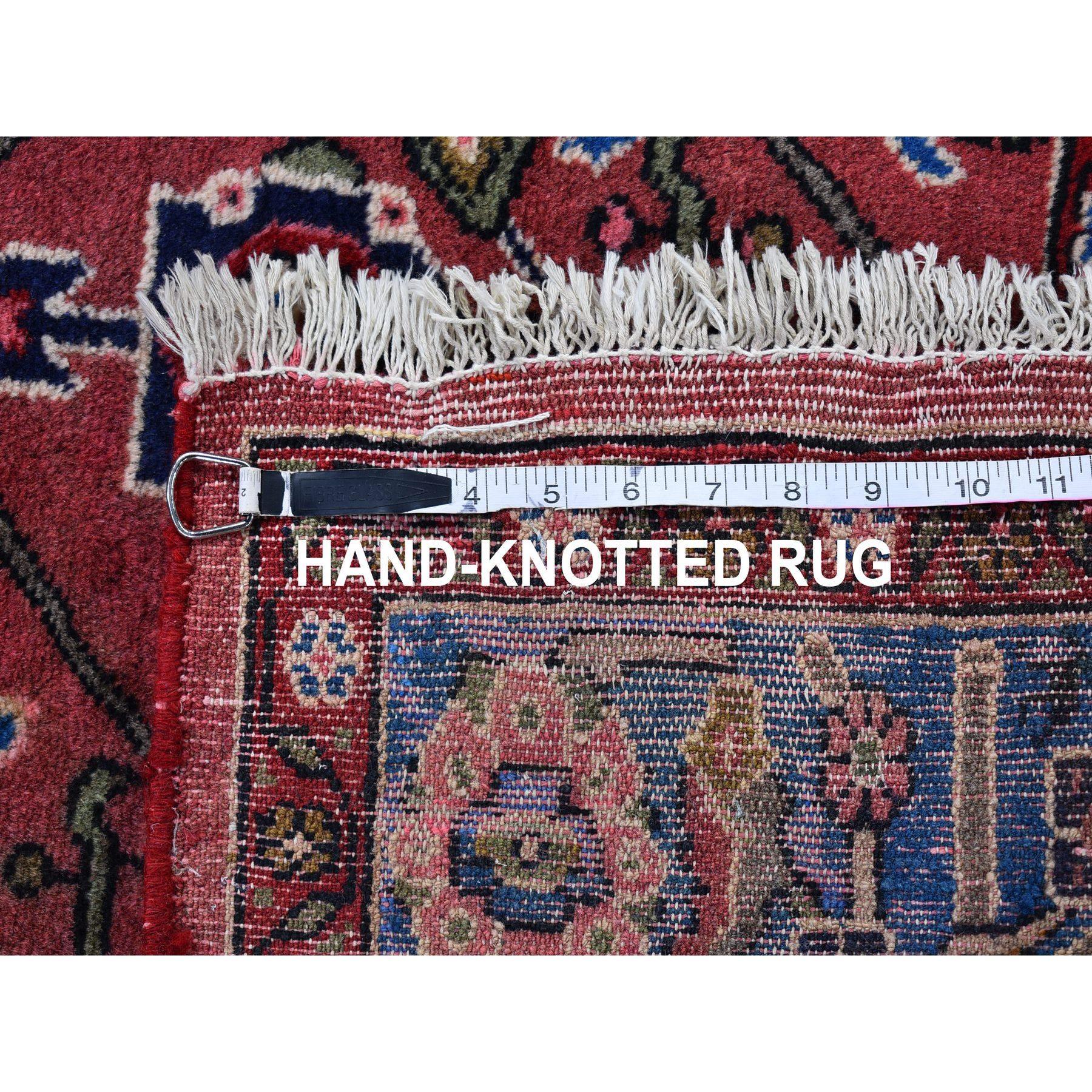 "3'x5'6"" Nomadic Design Vintage Persian Hamadan Peach with a Vivid Blue Border Organic Wool Hand Knotted Oriental Rug"