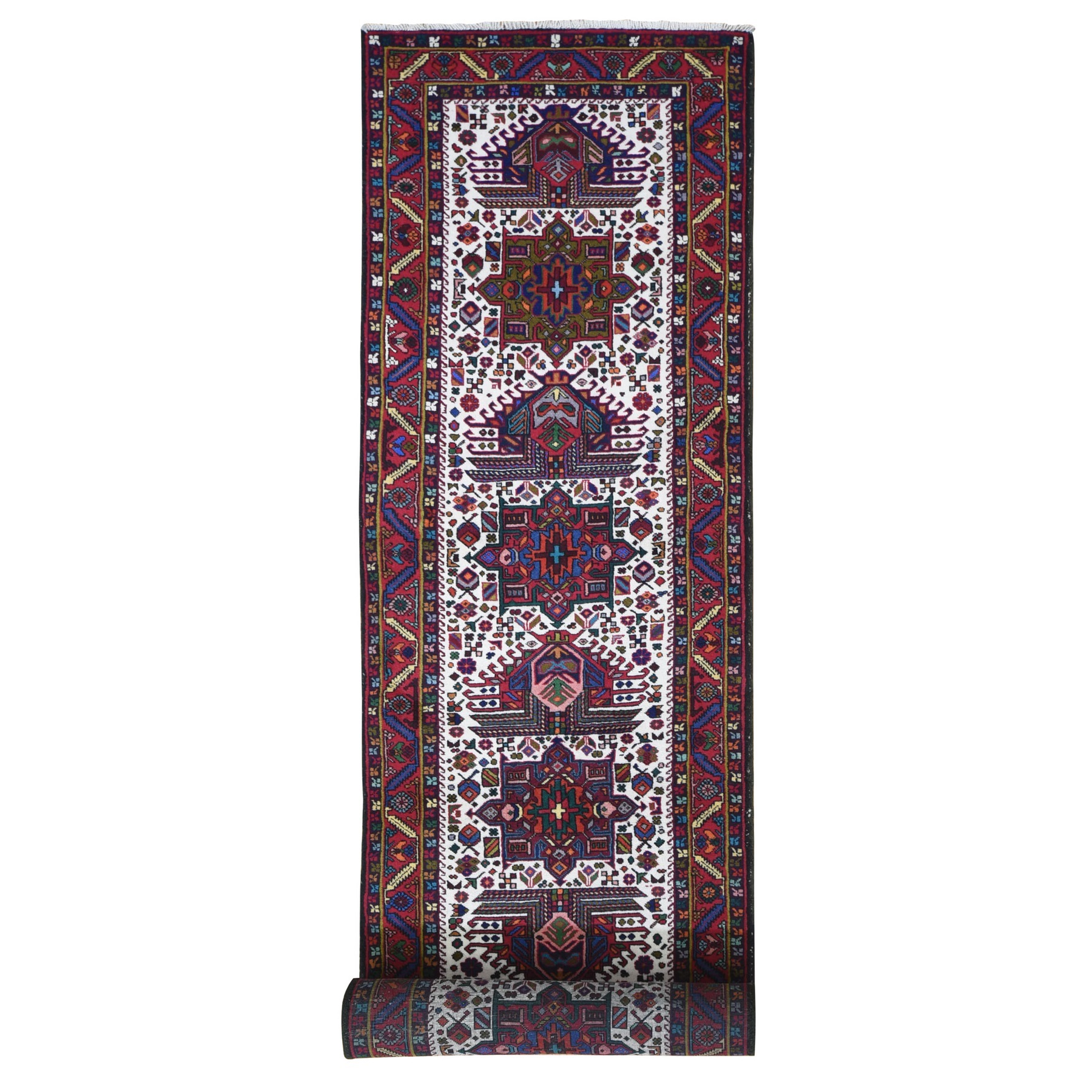 "3'2""x13' Ivory Vintage Persian Karajeh Village Weave Natural Wool Hand Knotted Oriental Rug"