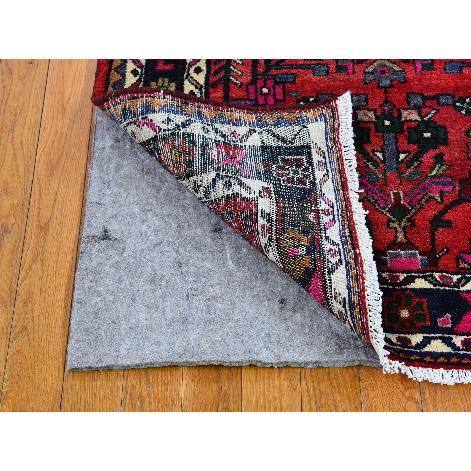 "3'4""x5'1"" Vintage Persian Hamadan Excellent Condition Tribal Design Pure Wool Hand Knotted Oriental Rug"