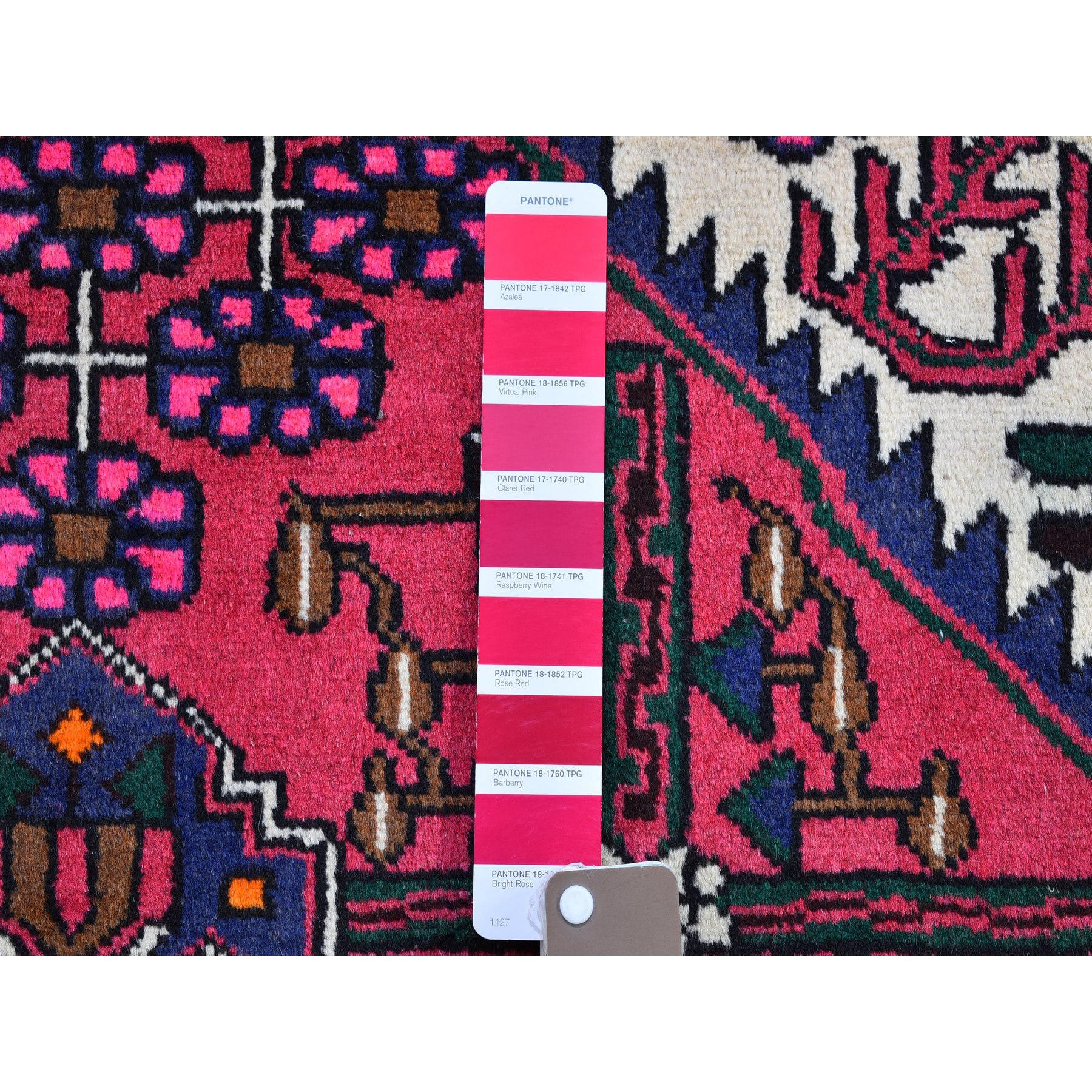 "3'5""x4'7"" Light Red Nomadic Design Vintage Persian Hamadan Organic Wool Hand Knotted Clean Oriental Rug"