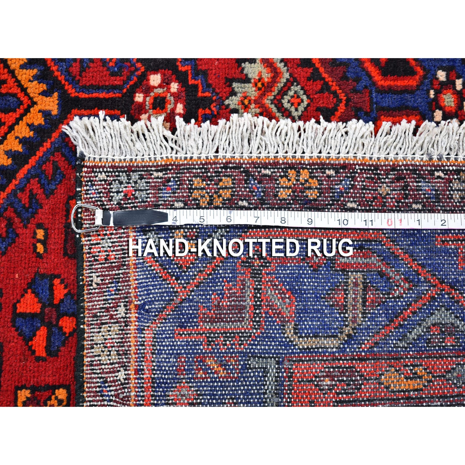 """4'6""""x6'10"""" Serrated Medallion Persian Vivid Blue Border Natural Wool Ethnic Design Hand Knotted Oriental Rug"""