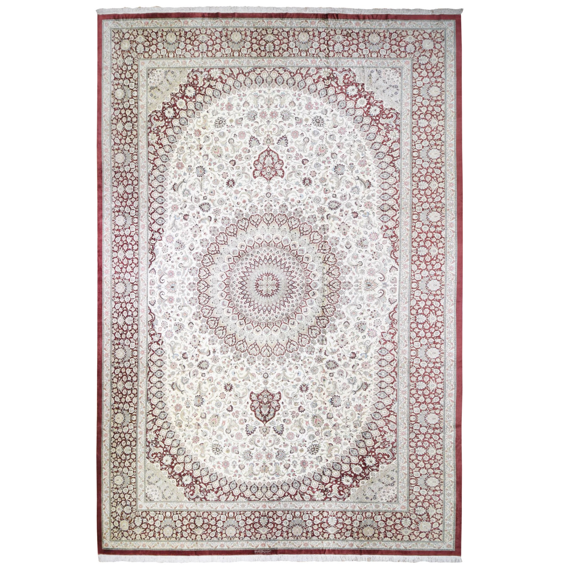 "14'7""x21'4"" Oversized New Persian Qum Signed by Master Weaver Amin 600 KPS Ivory and Cinnamon Red Pure Wool Hand Knotted Oriental Rug"