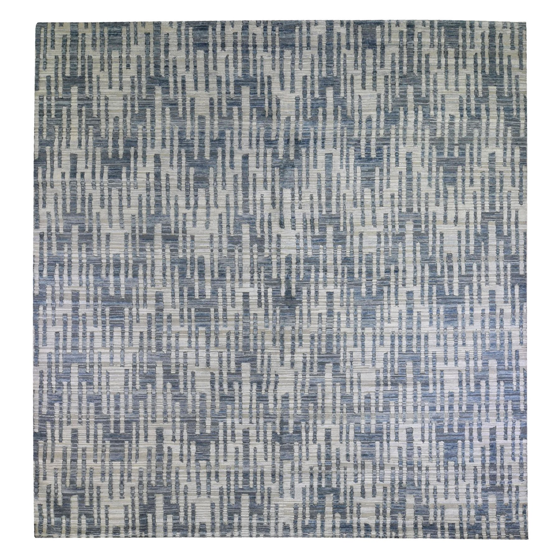 Mid Century Modern Collection Hand Knotted Blue Rug No: 1132772