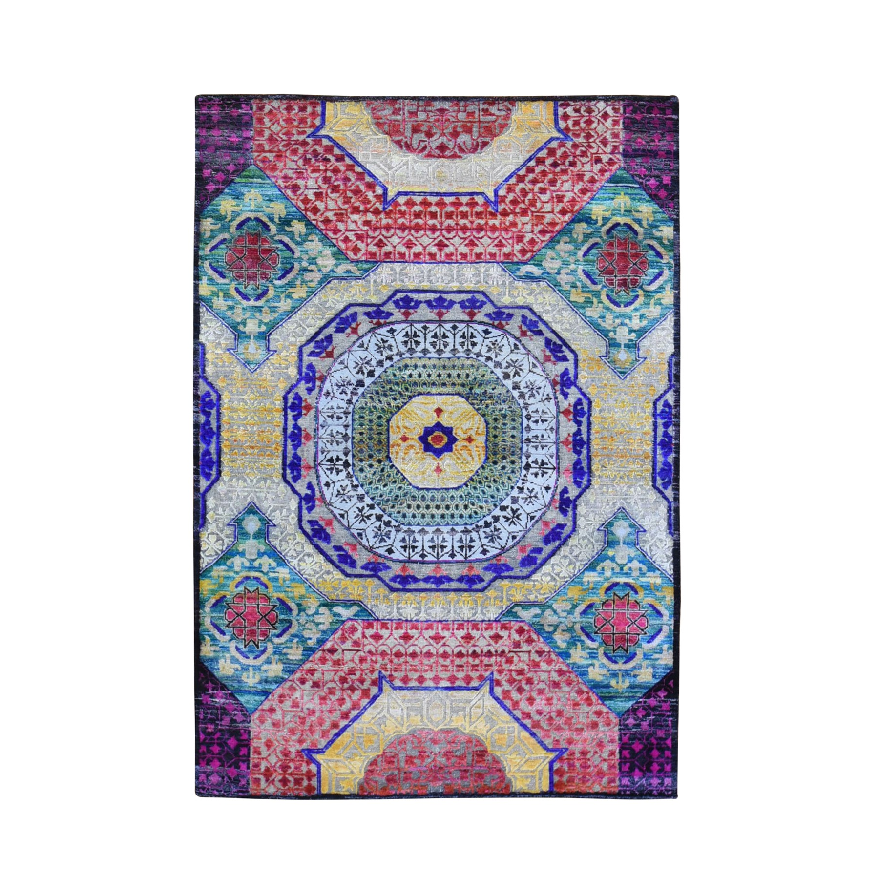 Intricate Collection Hand Knotted Yellow Rug No: 1132990