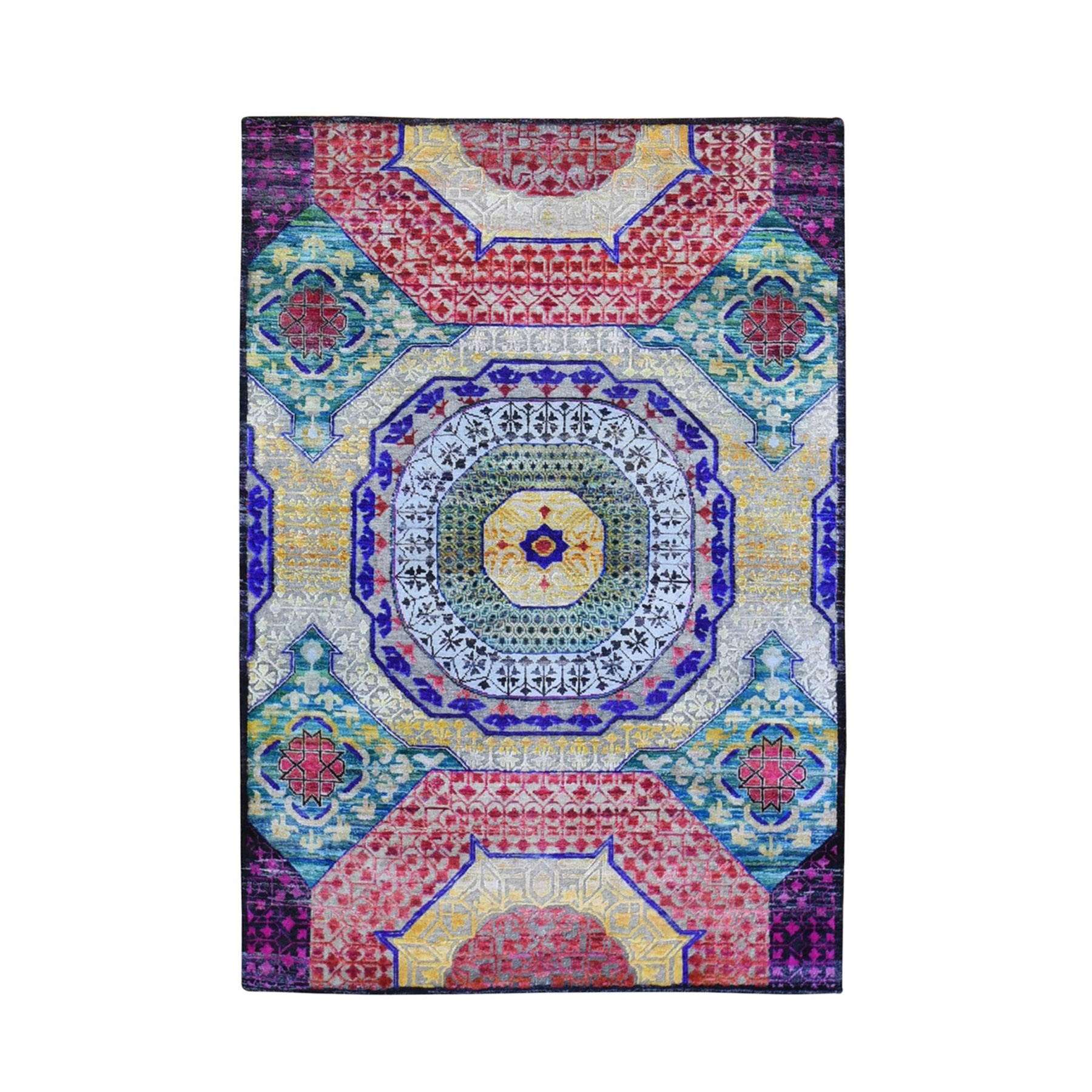 Intricate Collection Hand Knotted Yellow Rug No: 1132994