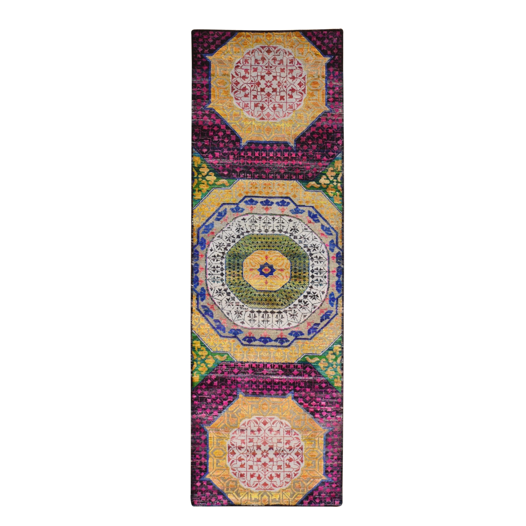 Intricate Collection Hand Knotted Yellow Rug No: 1133034