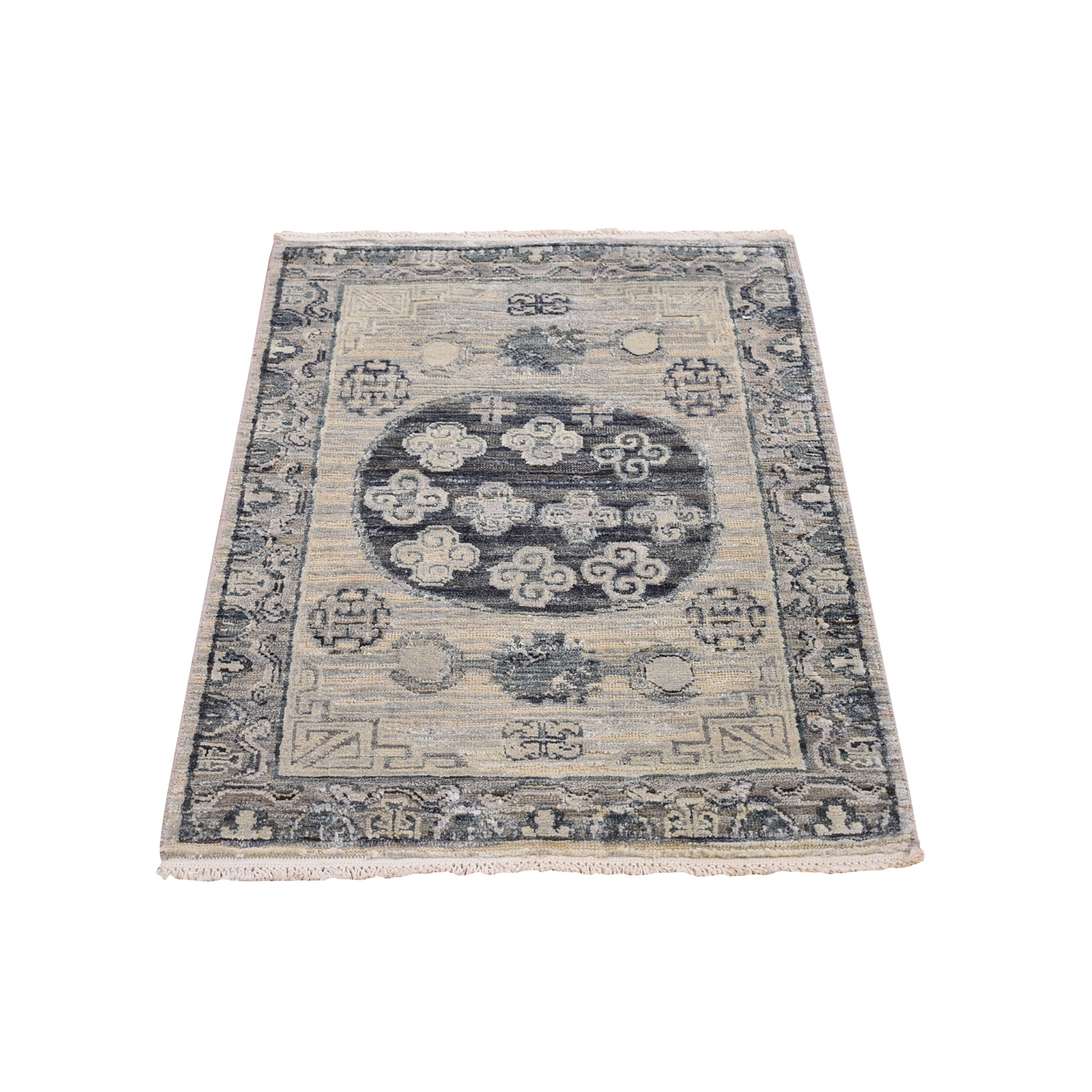 Wool and Real Silk Collection Hand Knotted Grey Rug No: 1133042