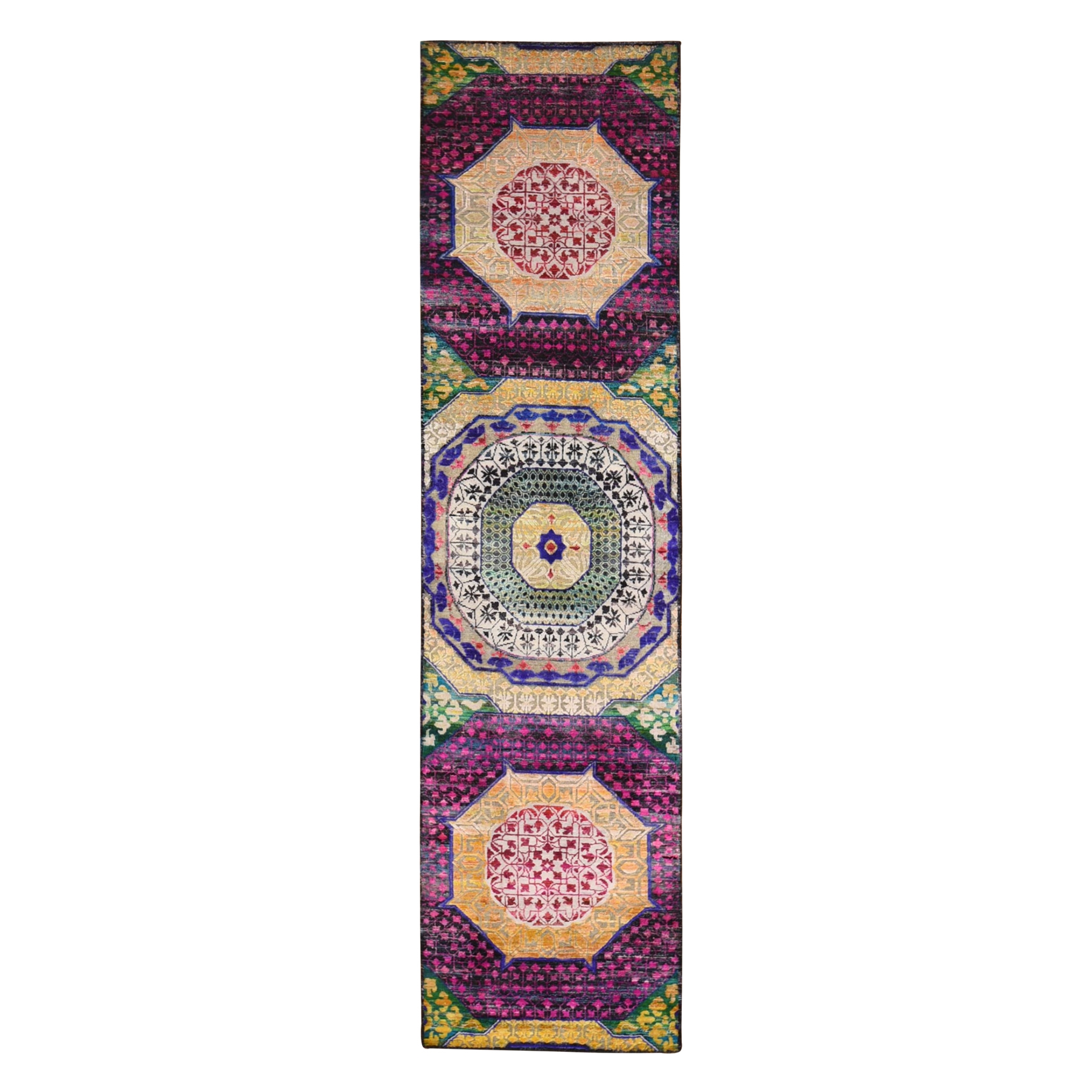 Intricate Collection Hand Knotted Yellow Rug No: 1133048