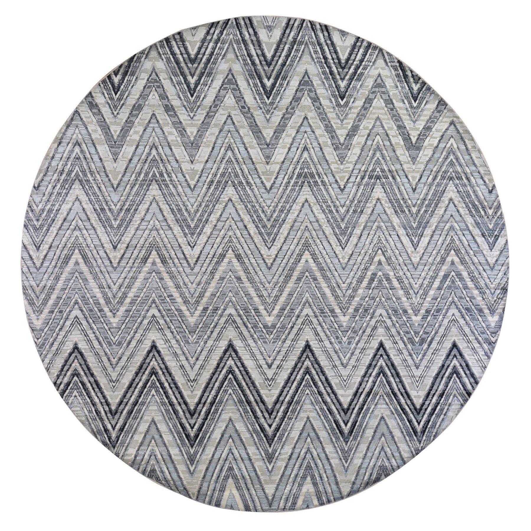 Mid Century Modern Collection Hand Knotted Grey Rug No: 1133388