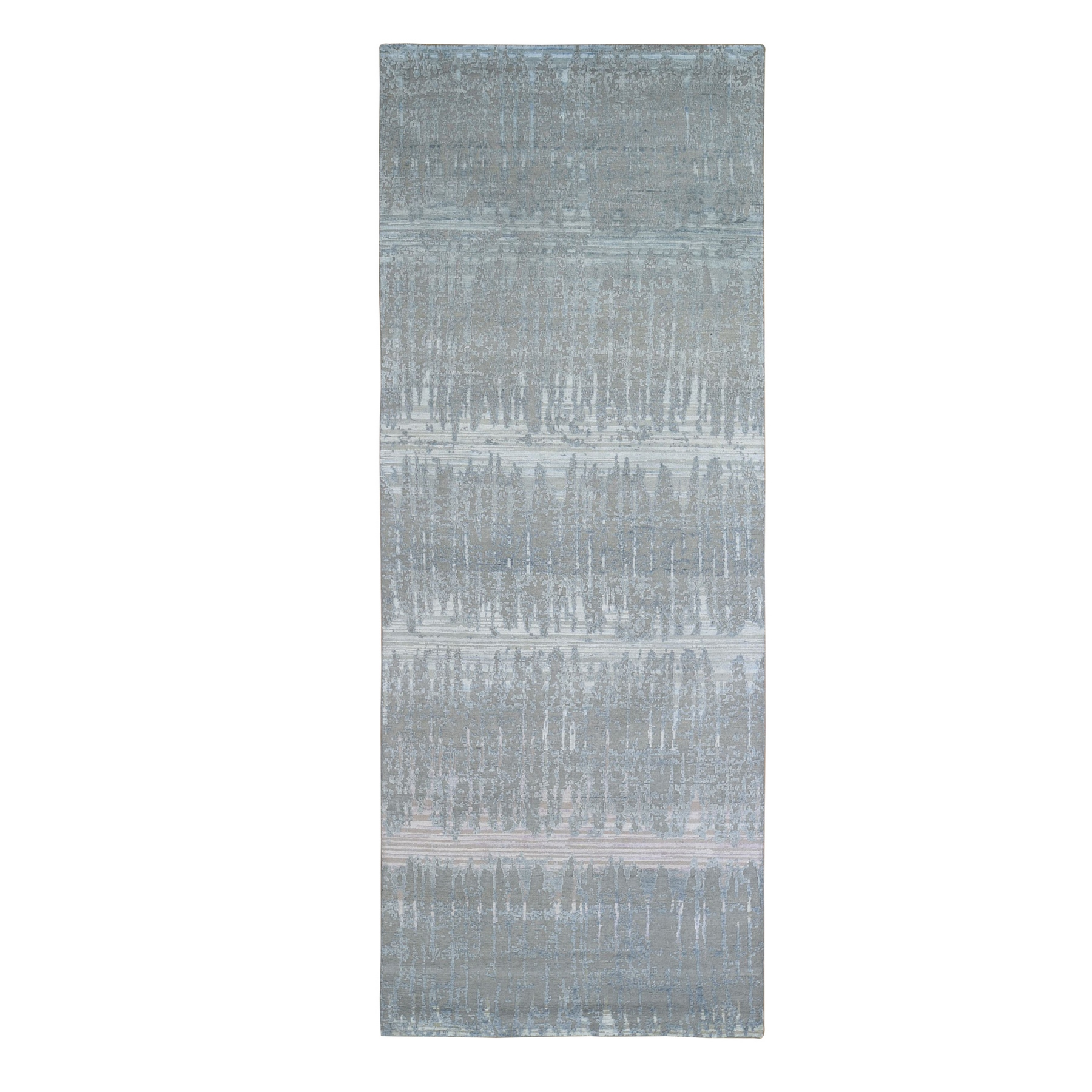 Mid Century Modern Collection Hand Knotted Grey Rug No: 1133416
