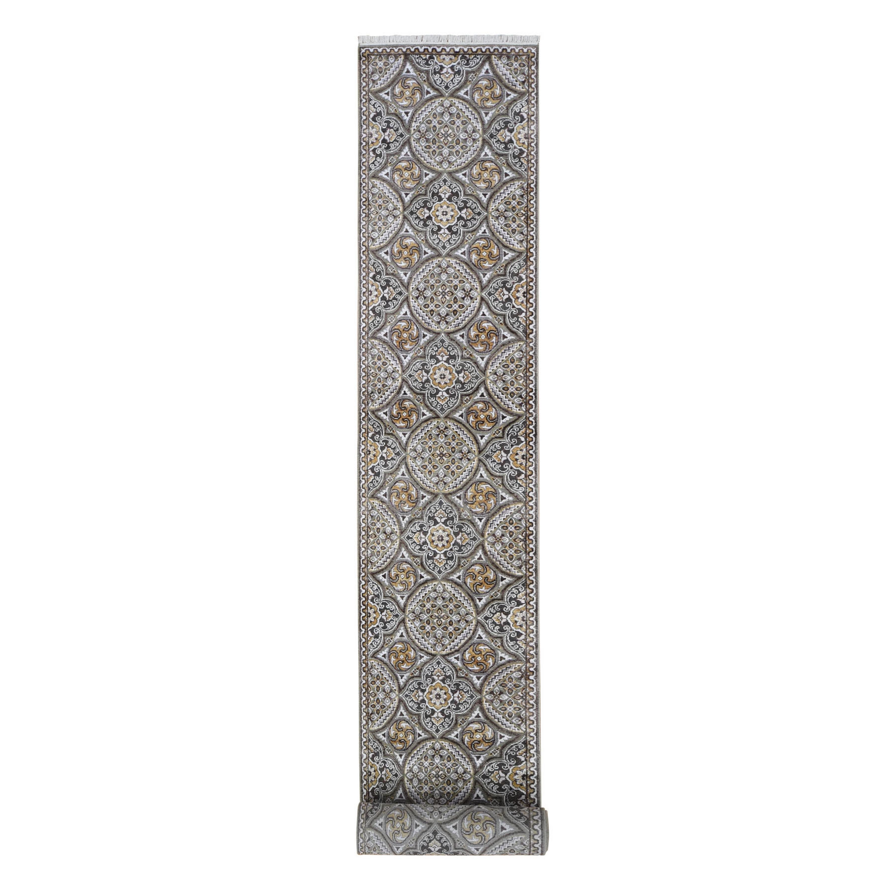 Transitional Hand Knotted Brown Rug No: 1133440