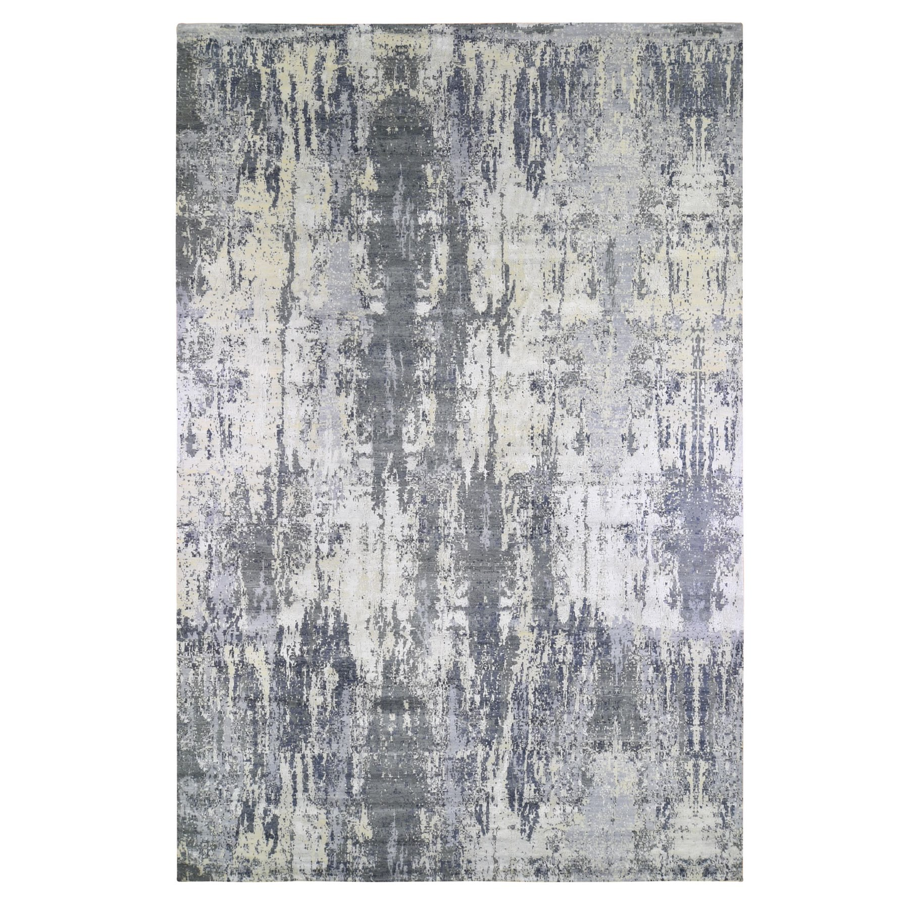 Mid Century Modern Collection Hand Knotted Grey Rug No: 1133464