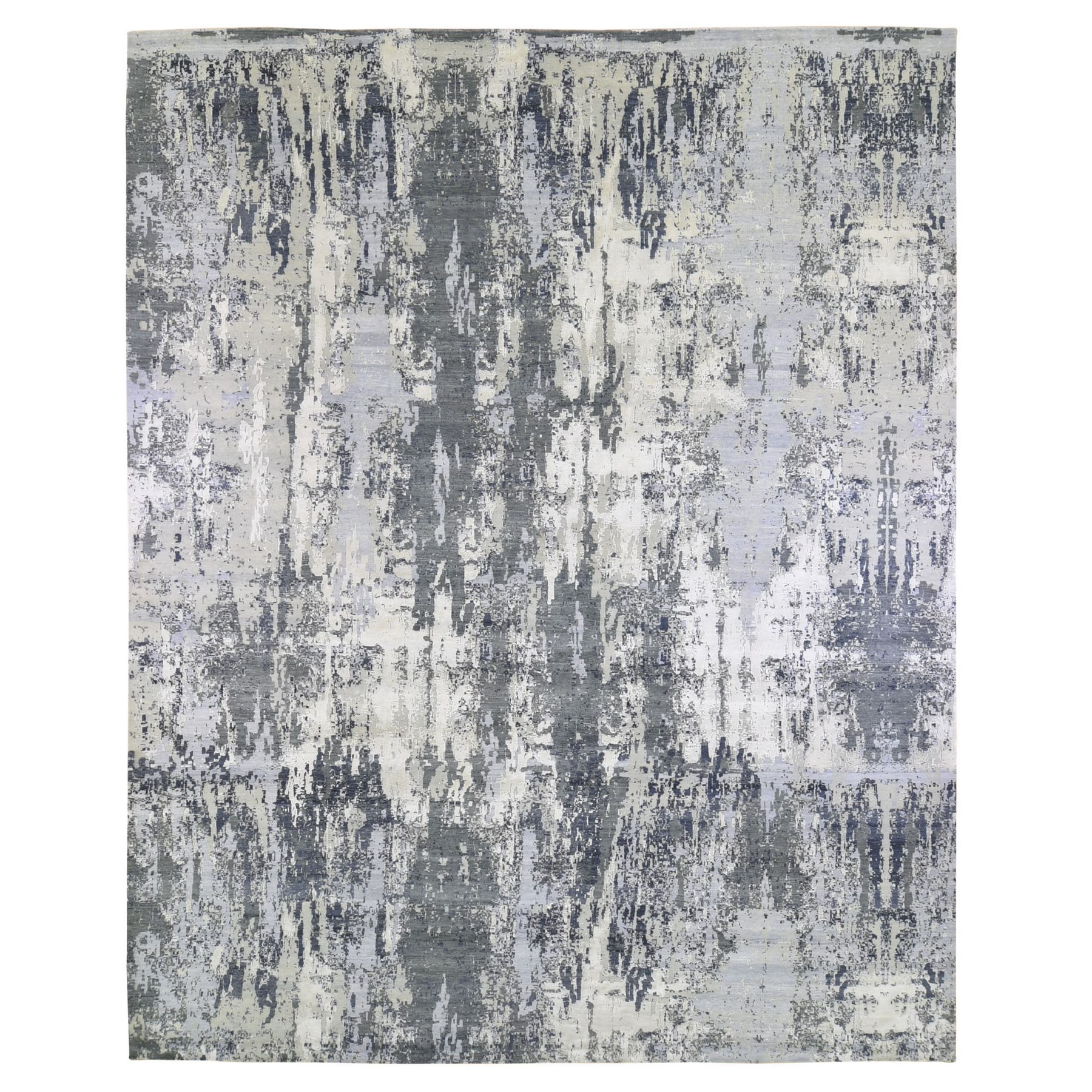 Mid Century Modern Collection Hand Knotted Grey Rug No: 1133468