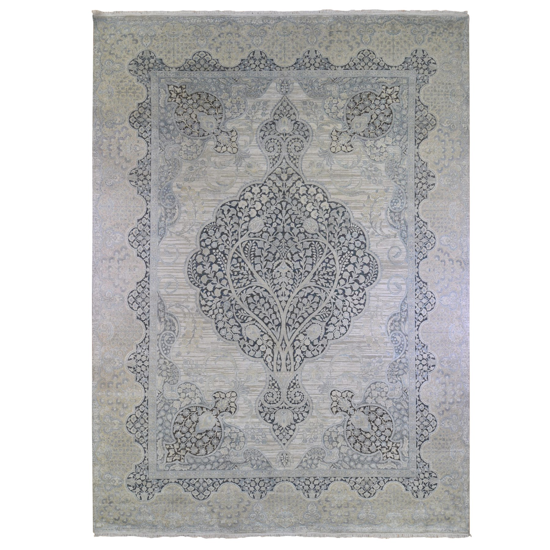 Transitional Hand Knotted Ivory Rug No: 1133470
