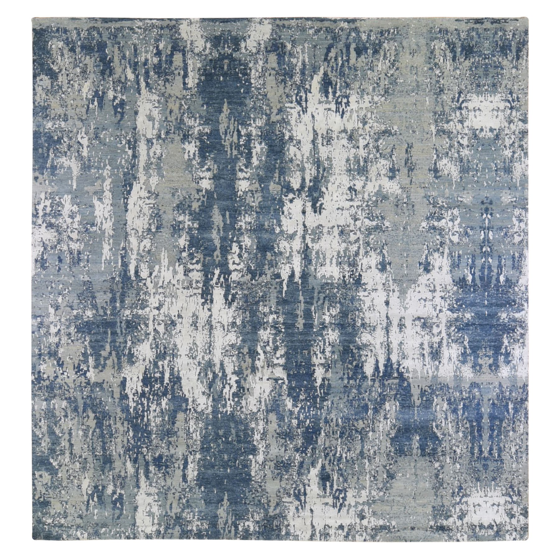 Mid Century Modern Collection Hand Knotted Blue Rug No: 1133474