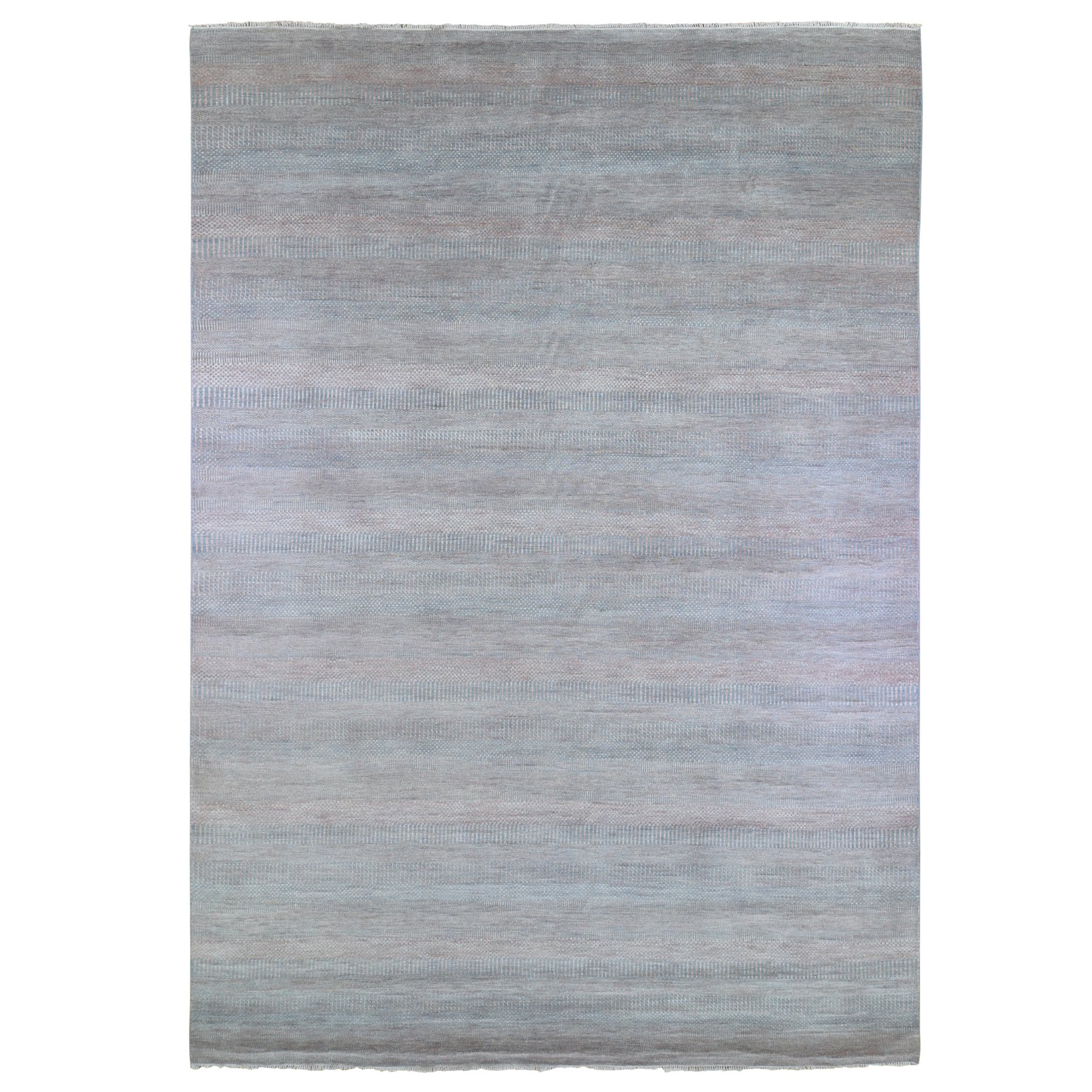 Mid Century Modern Collection Hand Knotted Blue Rug No: 1133488