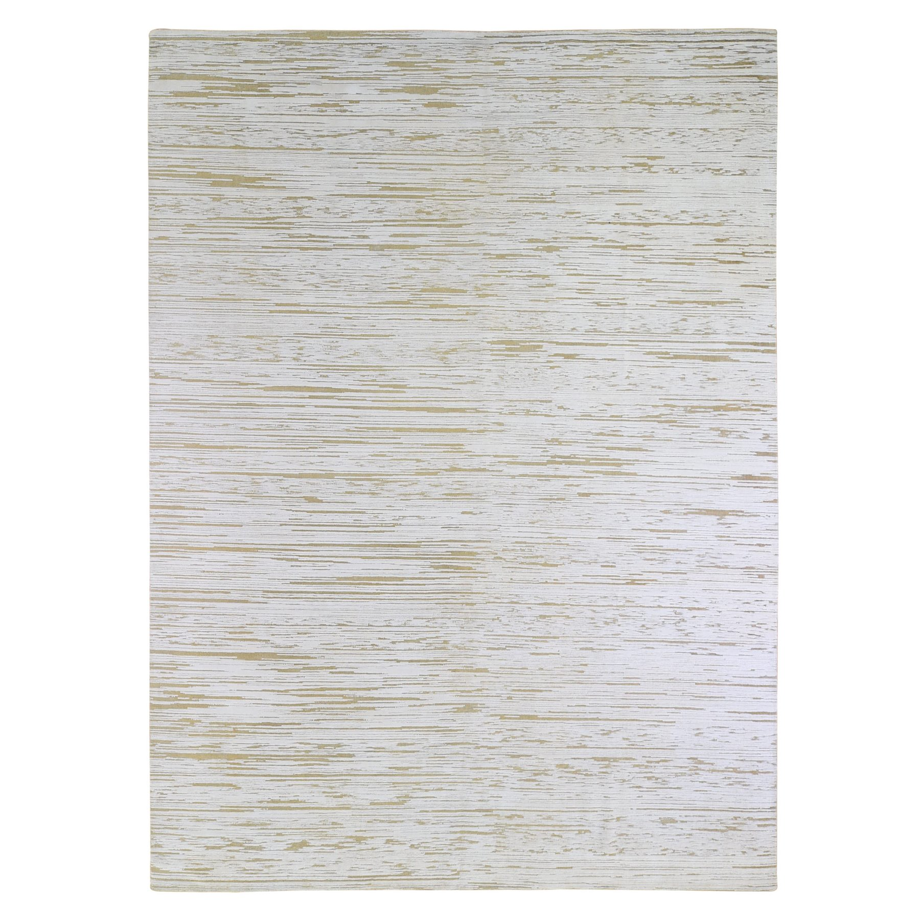 Mid Century Modern Collection Hand Knotted Ivory Rug No: 1133602