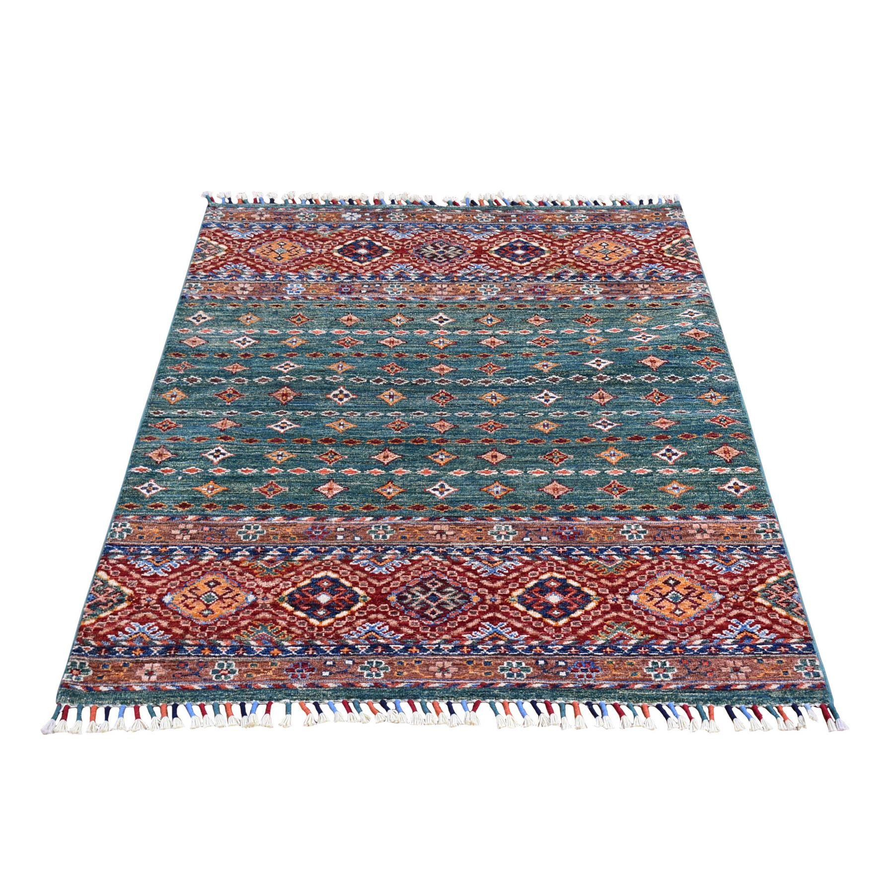 Caucasian Collection Hand Knotted Green Rug No: 1133652
