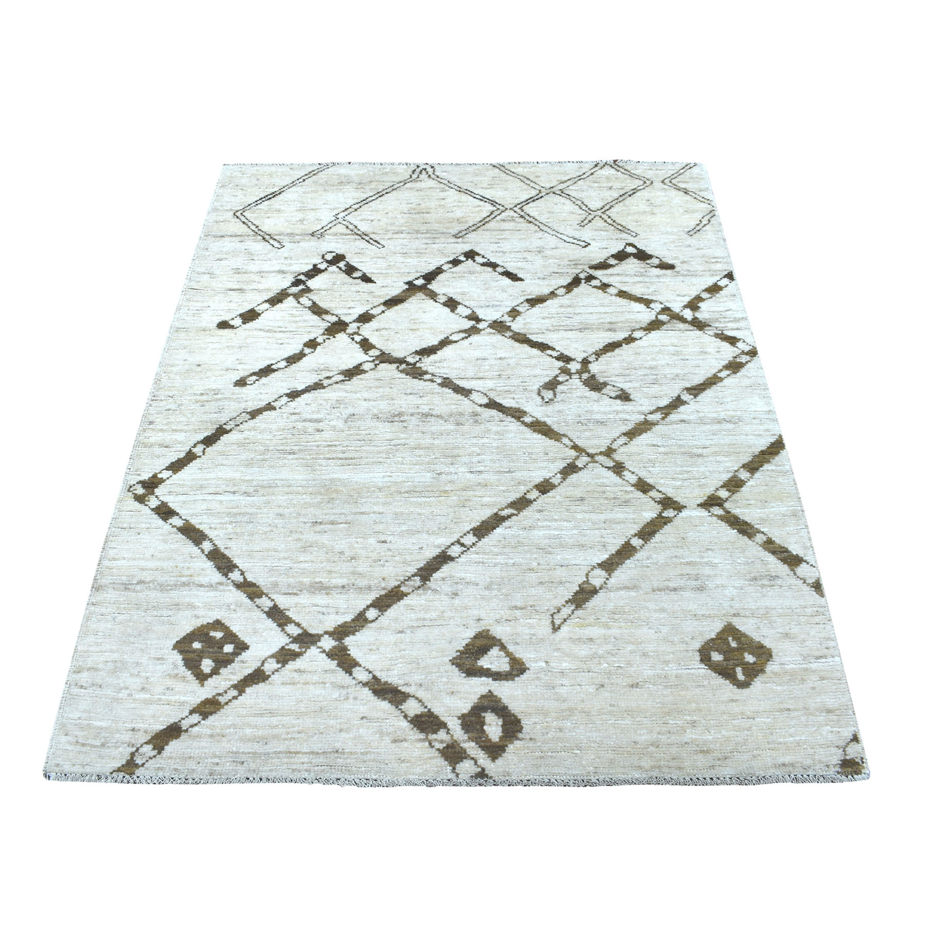 "4'x5'8"" Hand Knotted Ivory Handspun Wool Shabby Chic Moroccan Berber Boujaad Design Oriental Rug"
