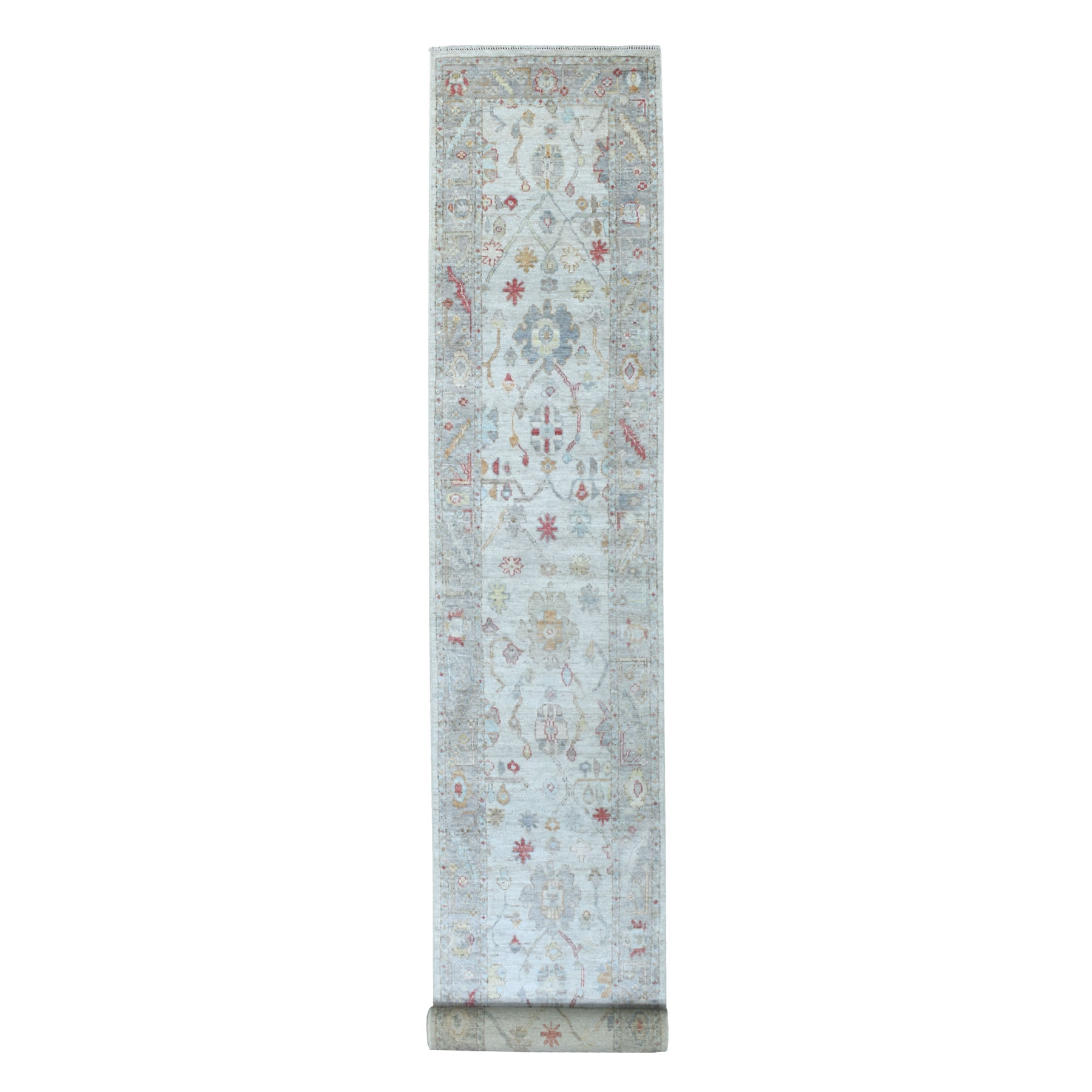 "2'9""x19'6"" Hand Knotted Gray Angora Oushak With Soft and Vibrant Wool Oriental XL Runner Rug"