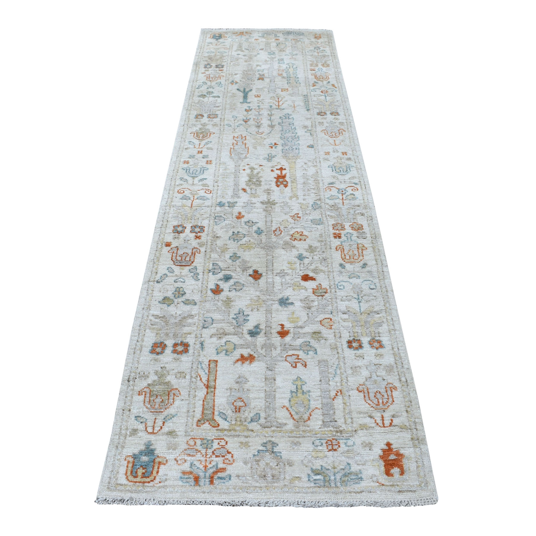 "2'9""x9'10"" Ivory Angora Oushak With Cypress Tree Design Hand Knotted Glimmery Wool Oriental Runner Rug"