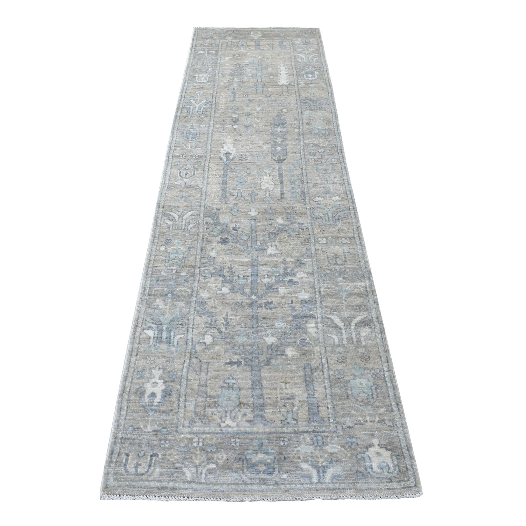 "2'8""x10' Hand Knotted Gray Angora Oushak With Cypress Tree Design Pure Wool Oriental Runner Rug"