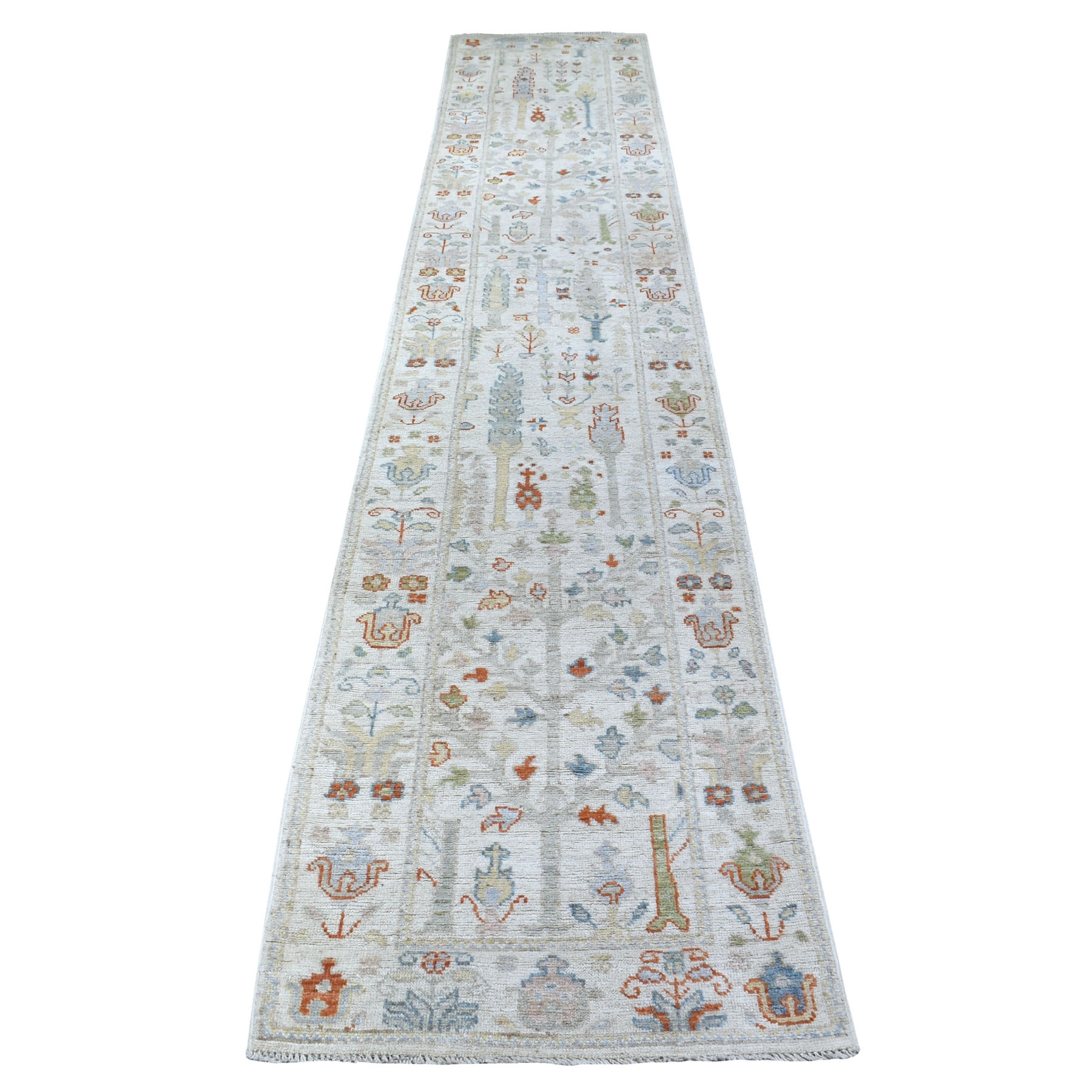 "2'7""x15'5"" Hand Knotted Ivory Angora Oushak With Cypress Tree Design Velvety wool Oriental XL Runner Rug"