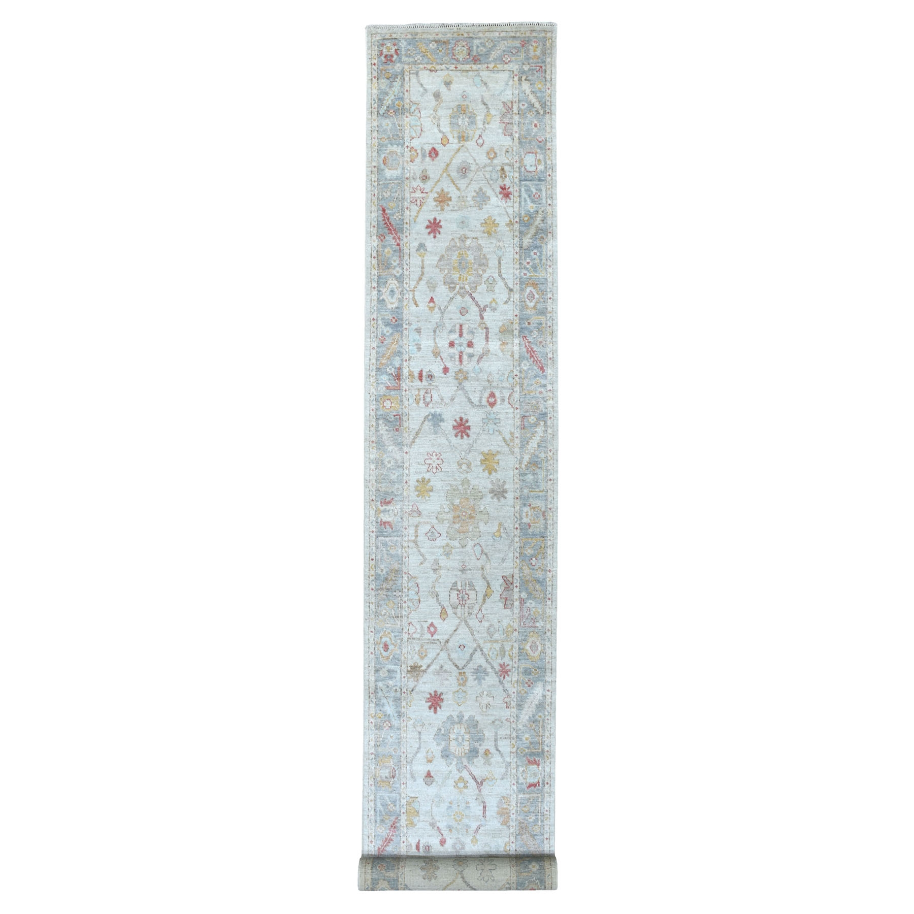 "2'9""x19'6"" Angora Oushak In A Colorful Palette Gray Pure Wool Hand Knotted Oriental XL Runner Rug"