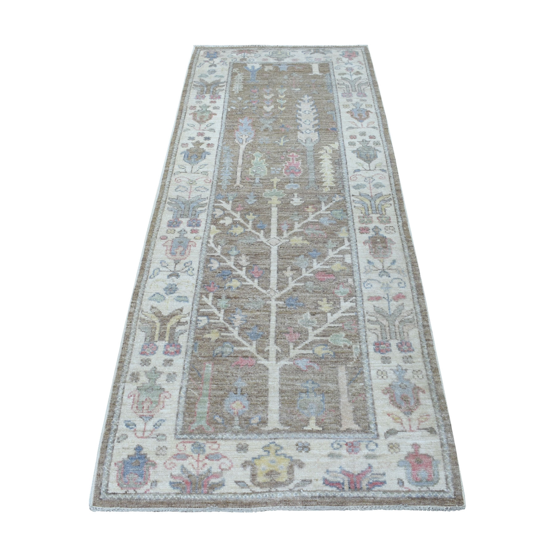 3'x8' Brown Angora Oushak With Cypress Tree Design Pure Wool Hand Knotted Oriental Runner Rug