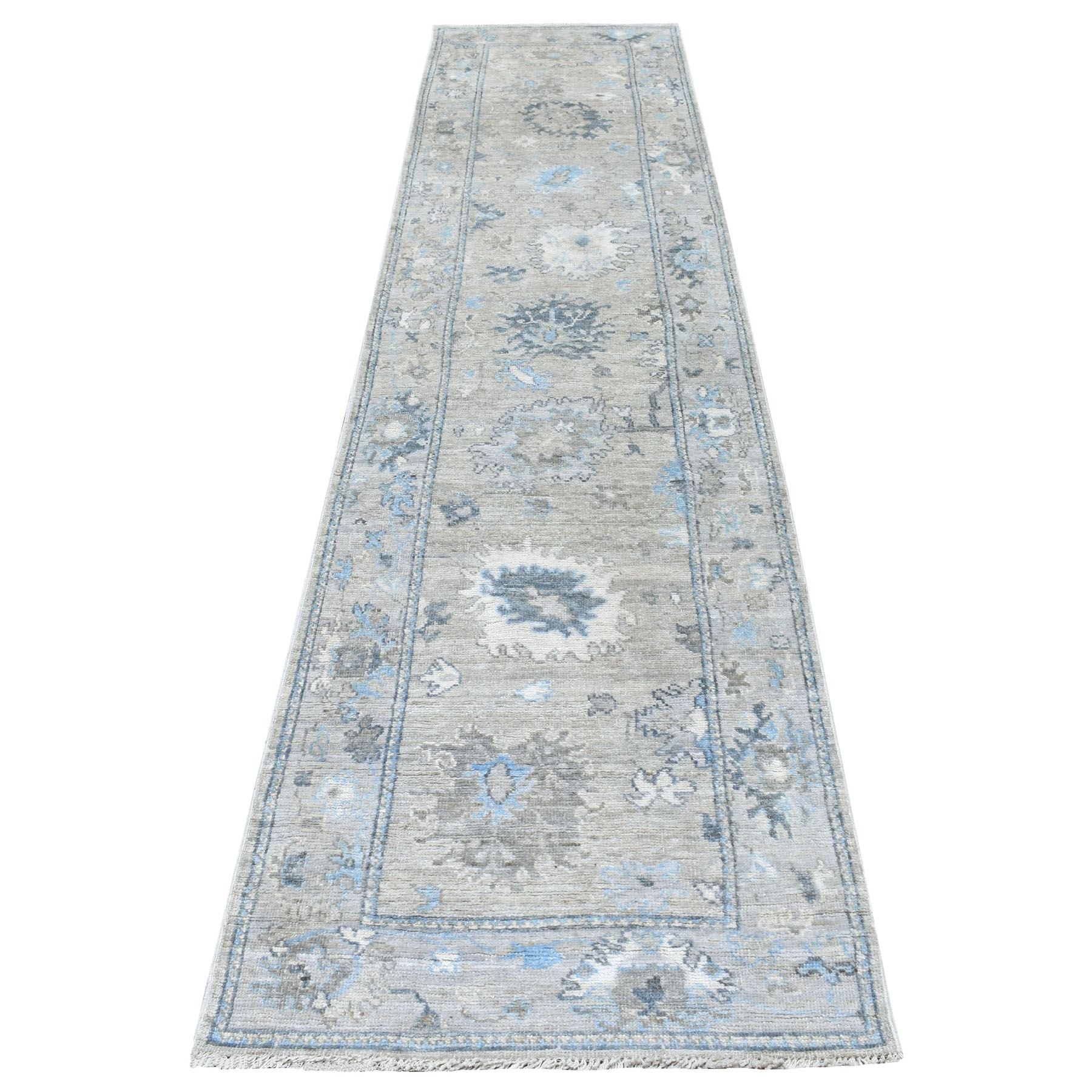 "2'8""x11'7"" Sun-Dried Wool Hand Knotted Beige With Soft Colors Angora Oushak Oriental Runner Rug"