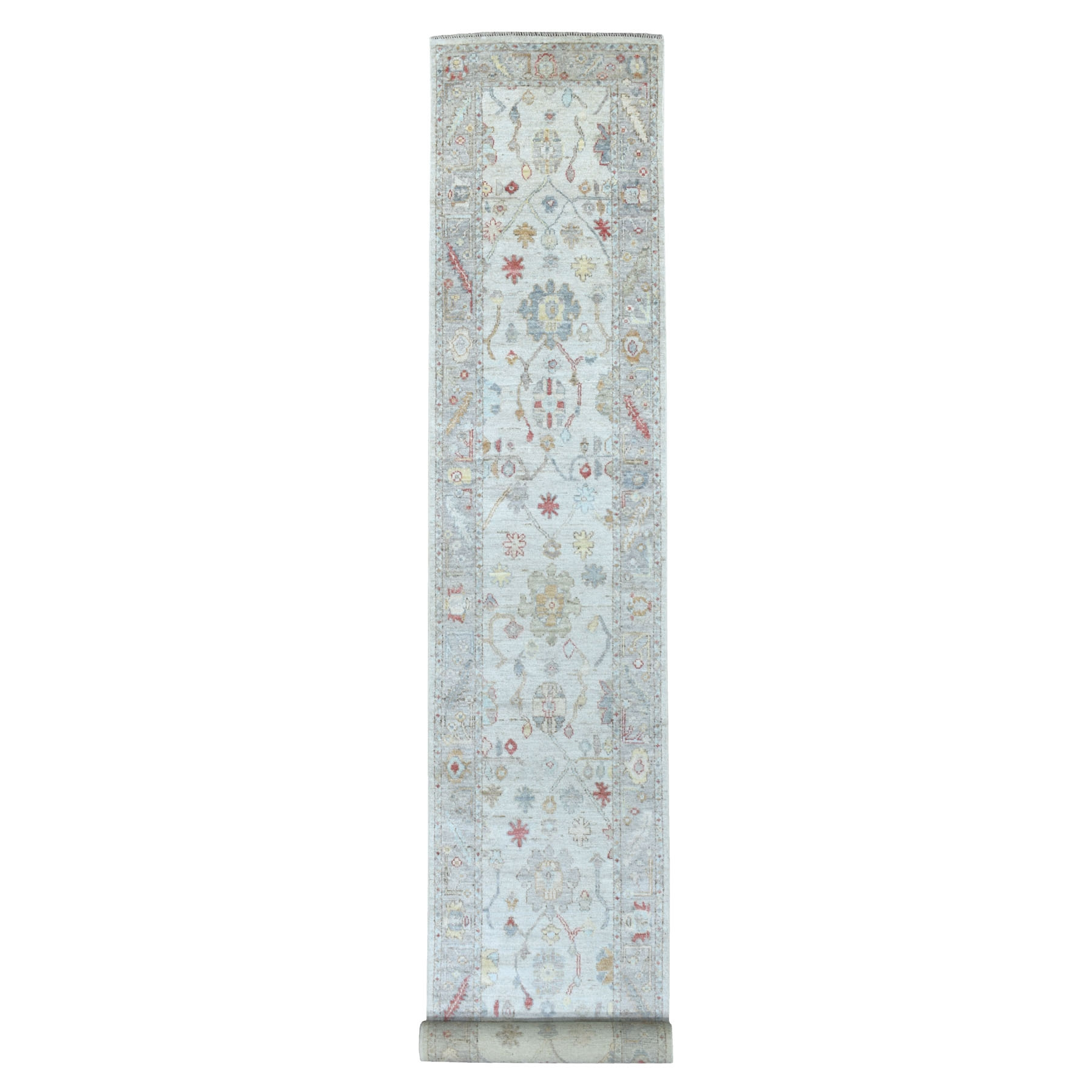 "2'10""x19'2"" Light Gray Hand Knotted With Pop Of Color Angora Oushak Pure Wool XL Runner Oriental Rug"