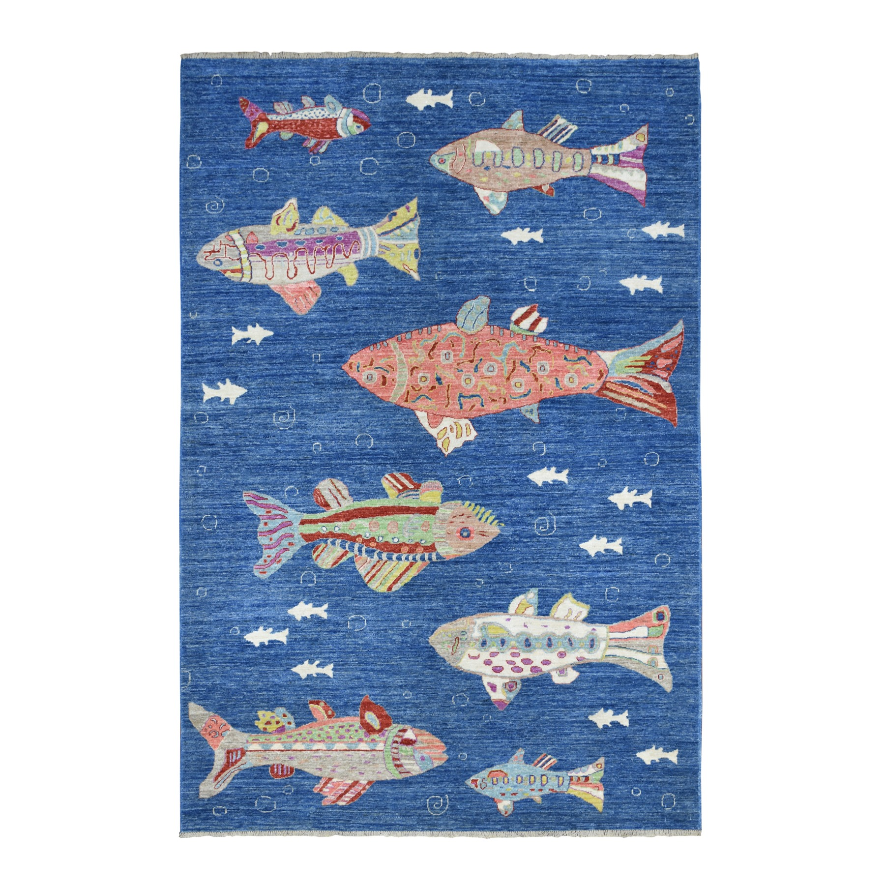 "6'1""x9' Oceanic Fish Design Organic Wool Afghan Peshawar Hand Knotted Oriental Rug"