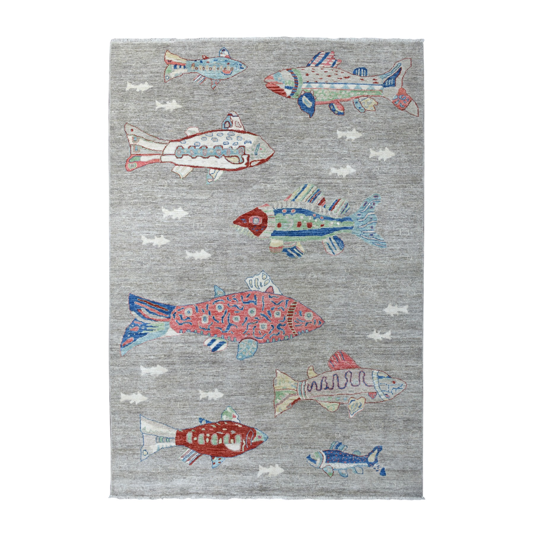 "6'x8'10"" Oceanic Fish Design Pure Wool Afghan Peshawar Hand Knotted Oriental Rug"