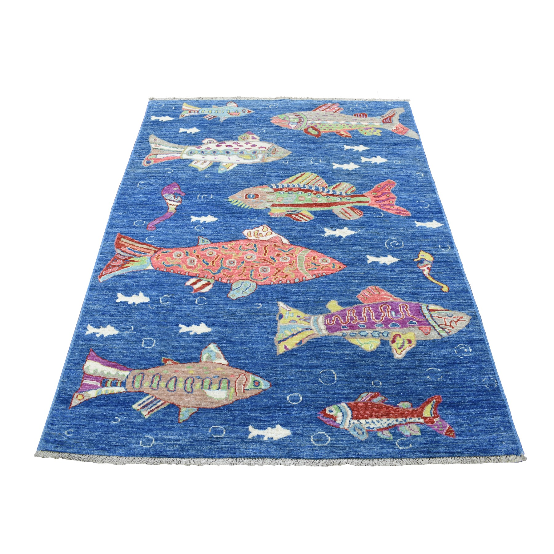"3'10""x5'10"" Hand Knotted Oceanic Fish Design Natural Wool Afghan Peshawar Oriental Rug"
