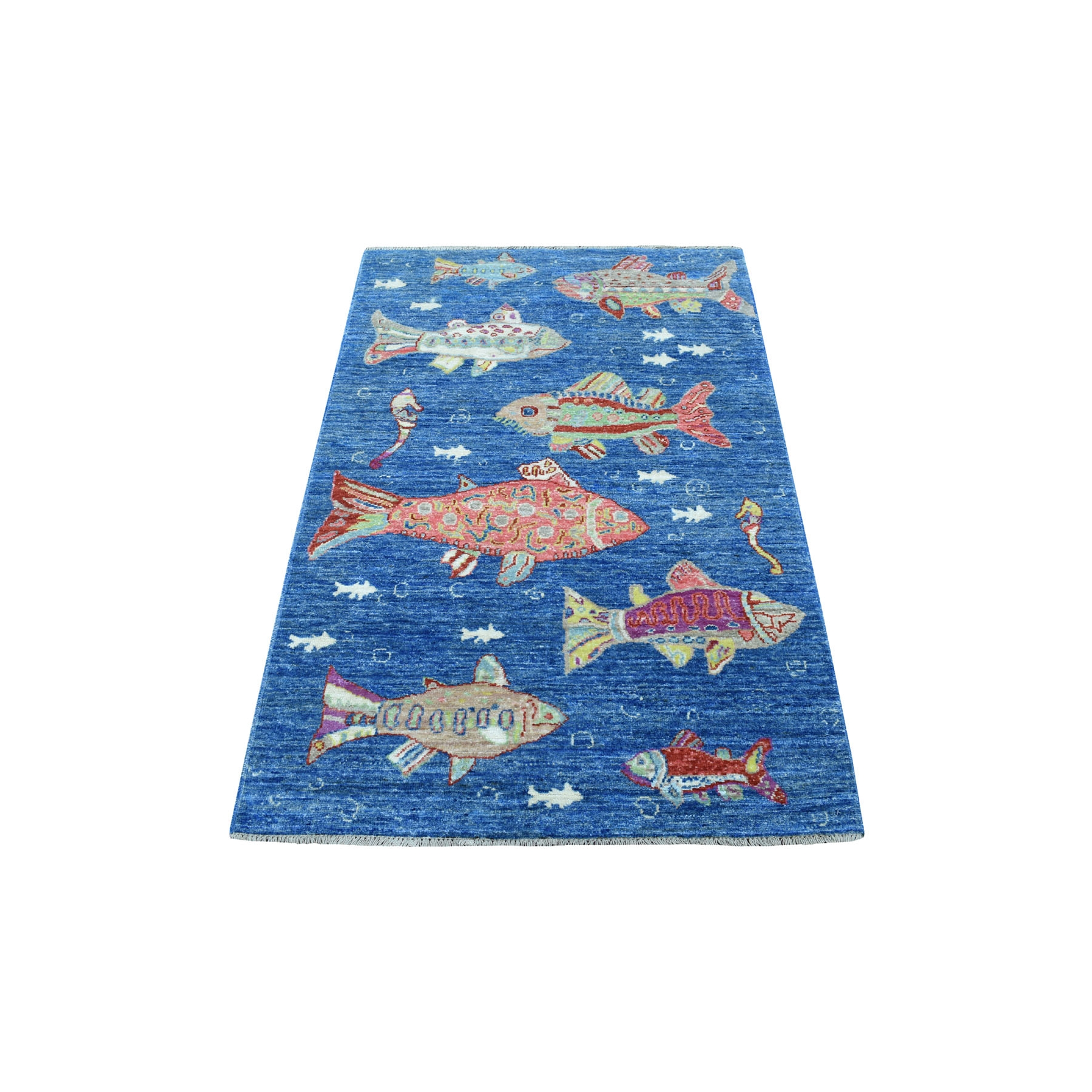 3'x5' Pure Wool Oceanic Fish Design Afghan Peshawar Hand Knotted Oriental Rug