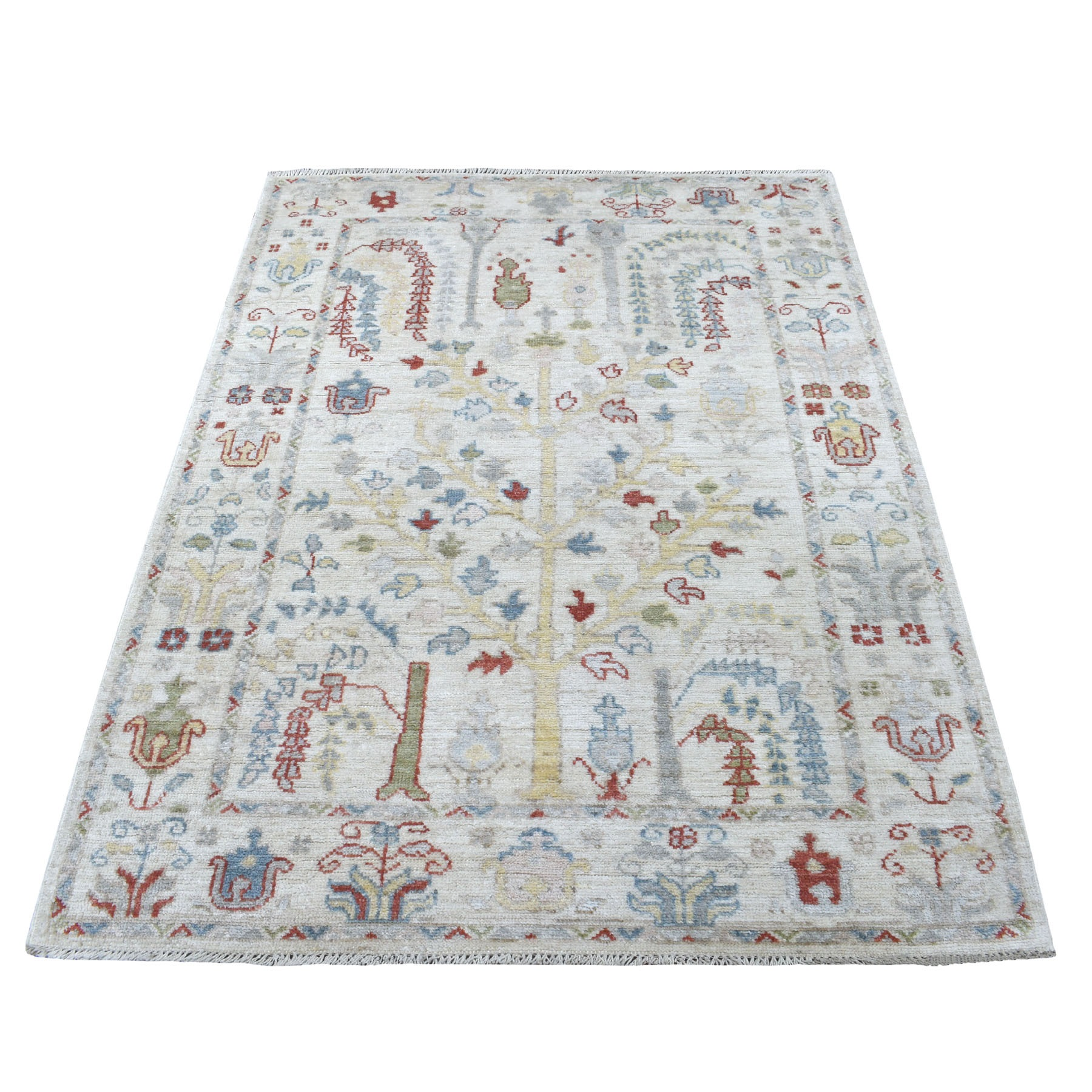 "4'2""x6"" Hand Knotted Ivory Angora Oushak With Willow Tree Design Pure Wool Oriental Runner Rug"