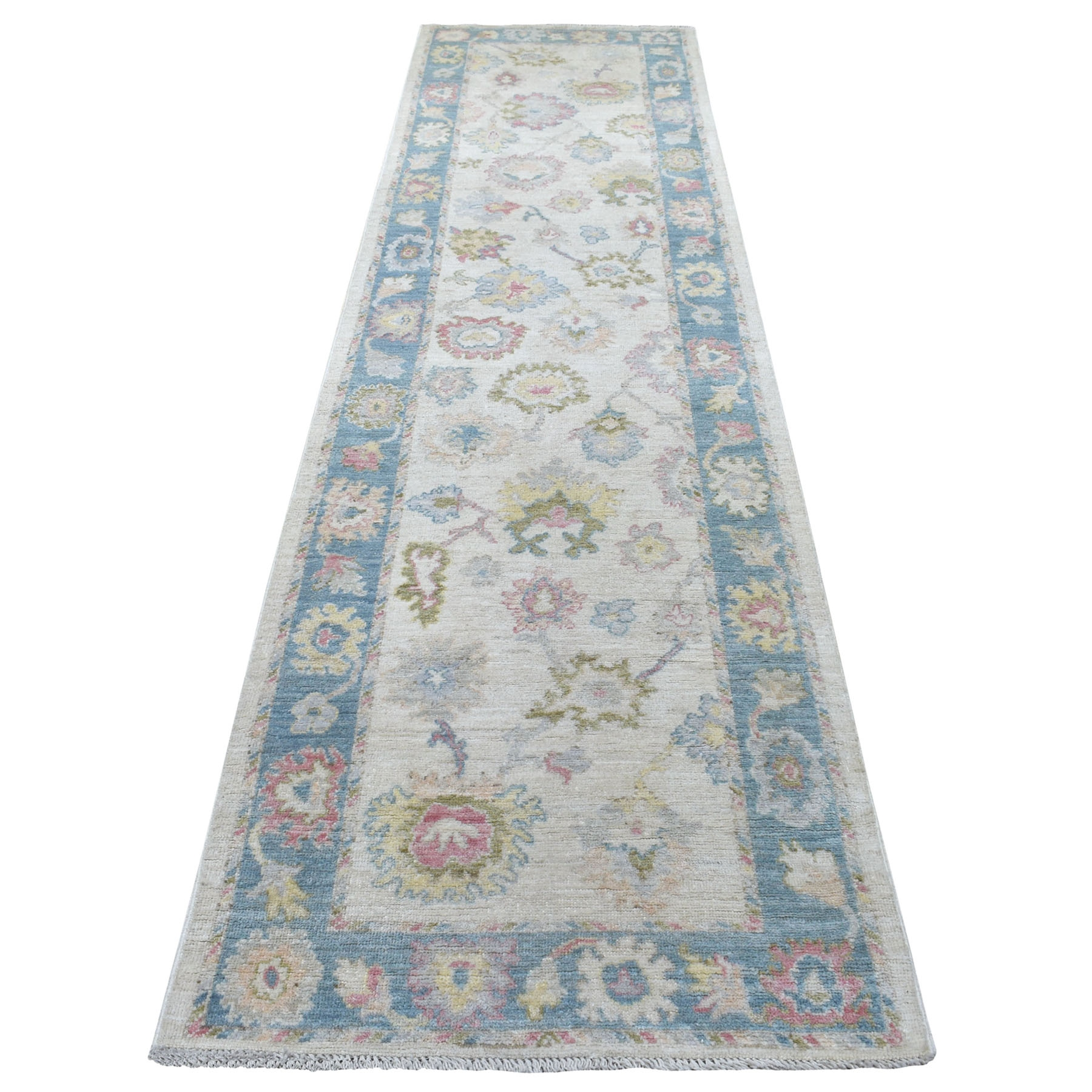 "3'1""x12' Beige Hand Knotted With Pop Of Color Angora Oushak Pure Wool Runner Oriental Rug"