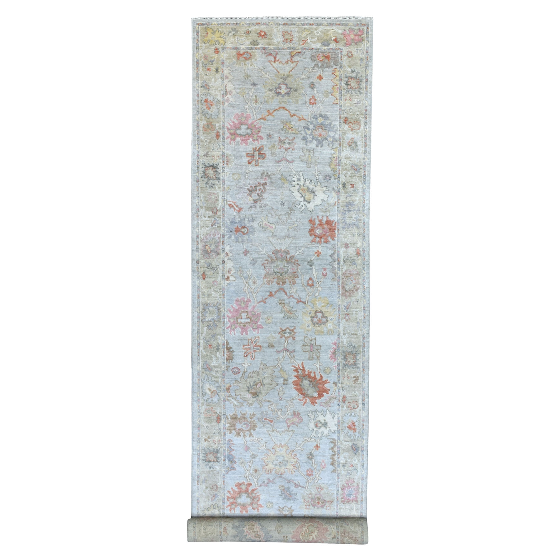 "4'x19'5"" Gray Sun-Dried Wool Hand Knotted With Soft Colors Angora Oushak Oriental Wide Gallery Size Runner Rug"