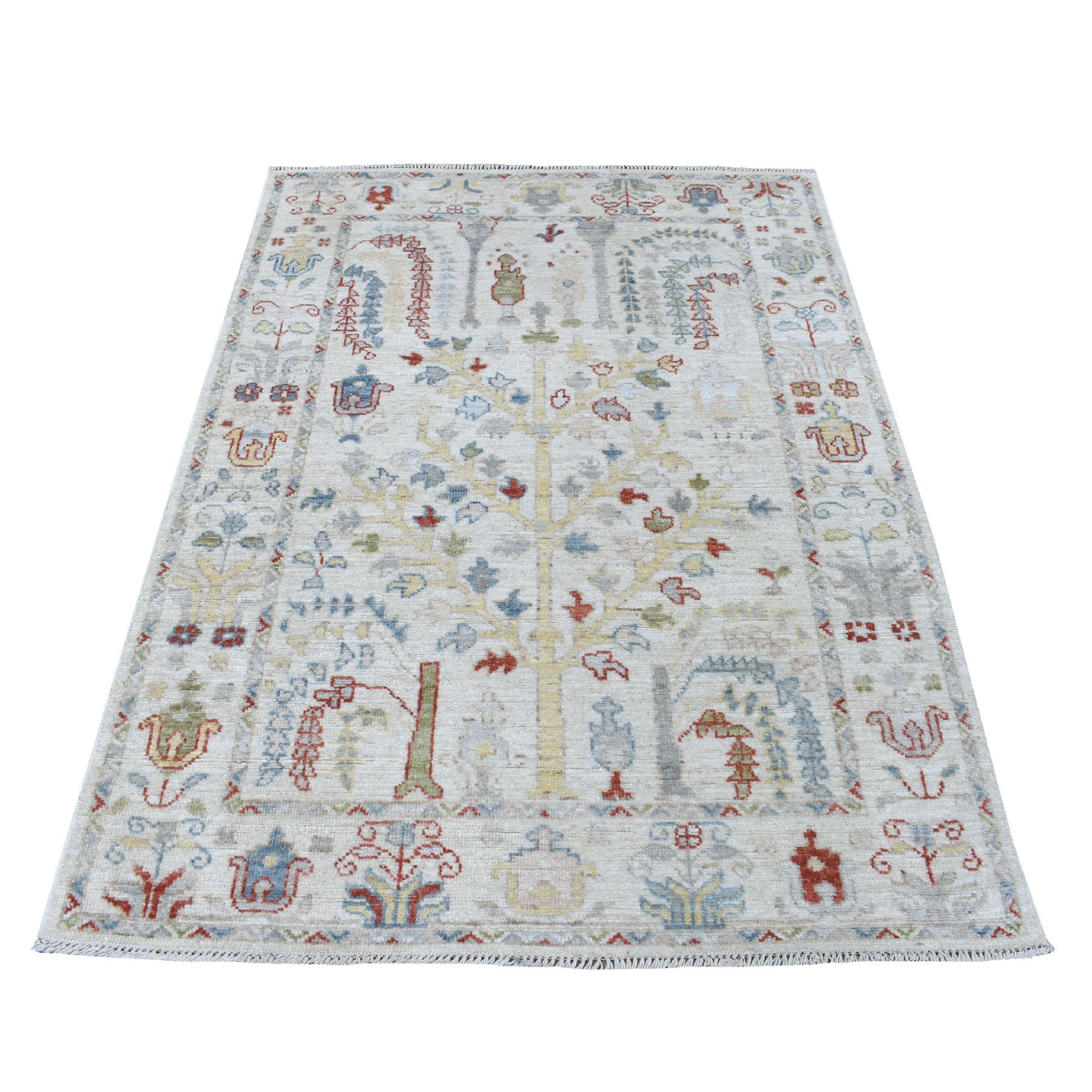 "4'1""x6' Hand Knotted Ivory Angora Oushak With Willow Tree Design Pure Wool Oriental Rug"