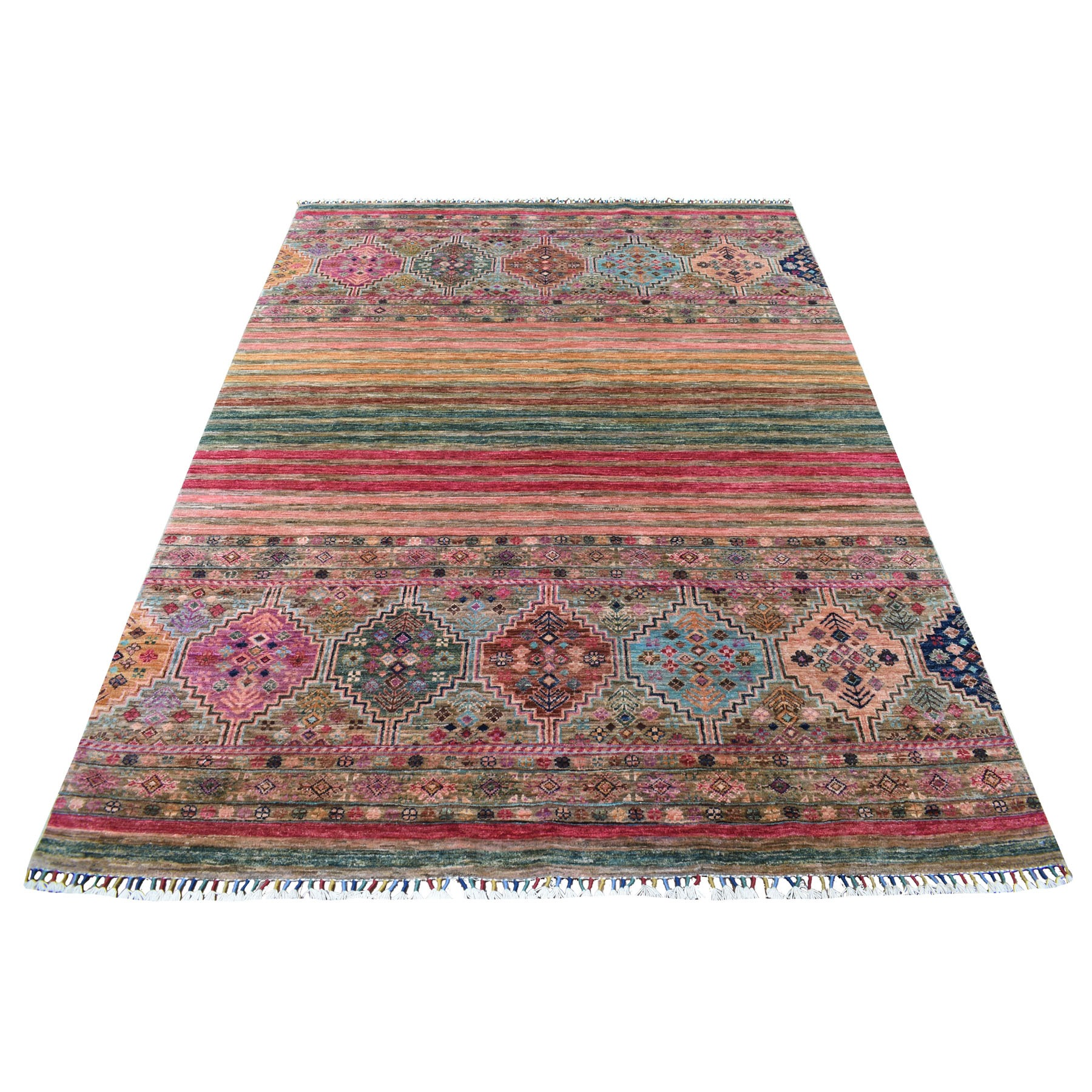 "5'7""x7'6"" Red With Colorful Tassles Hand Knotted Super Kazak In A Colorful Palette Khorjin Design Afghan Wool Oriental Rug"