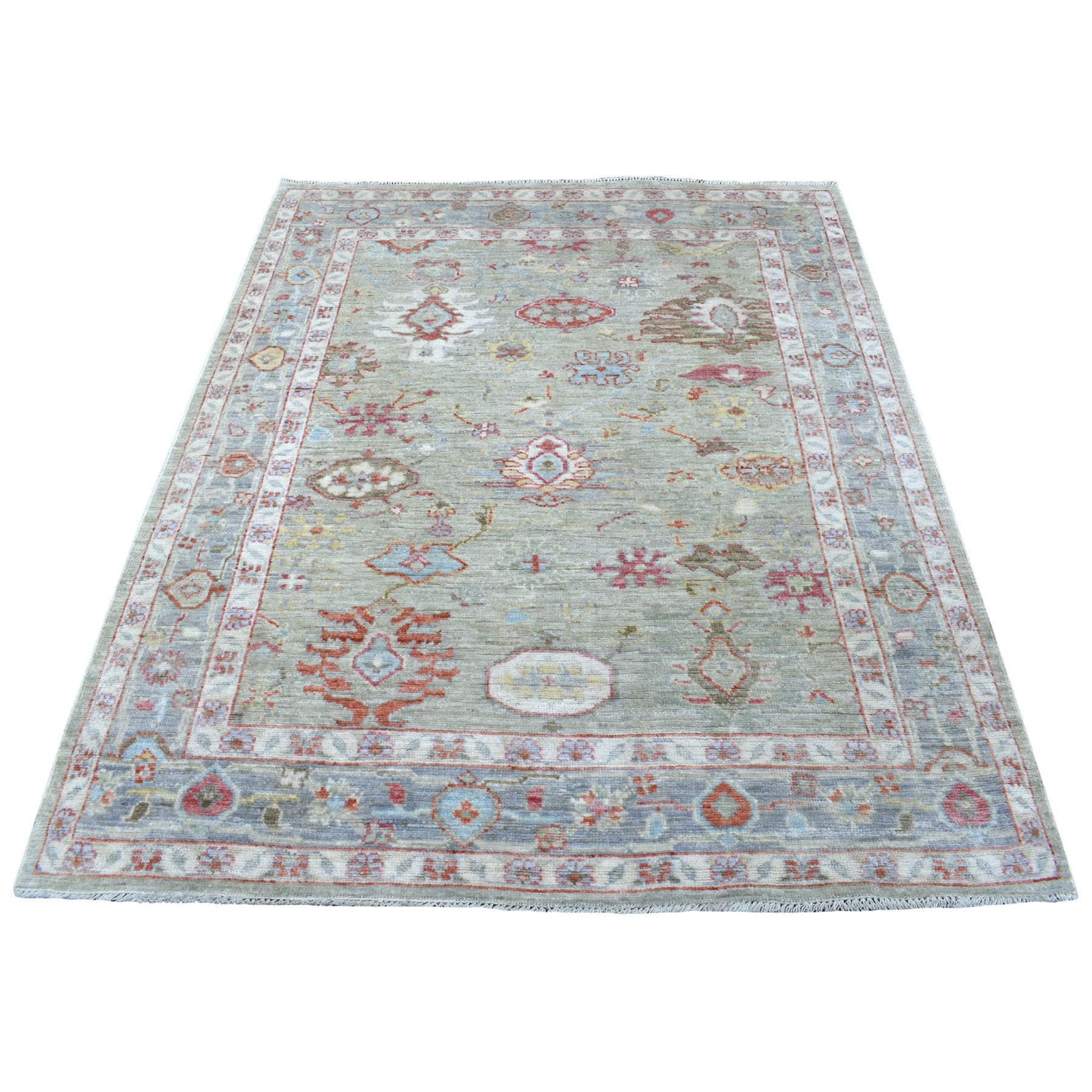 "5'1""x6'3"" Light Green Angora Oushak with soft Velvety wool Hand Knotted Oriental Rug"